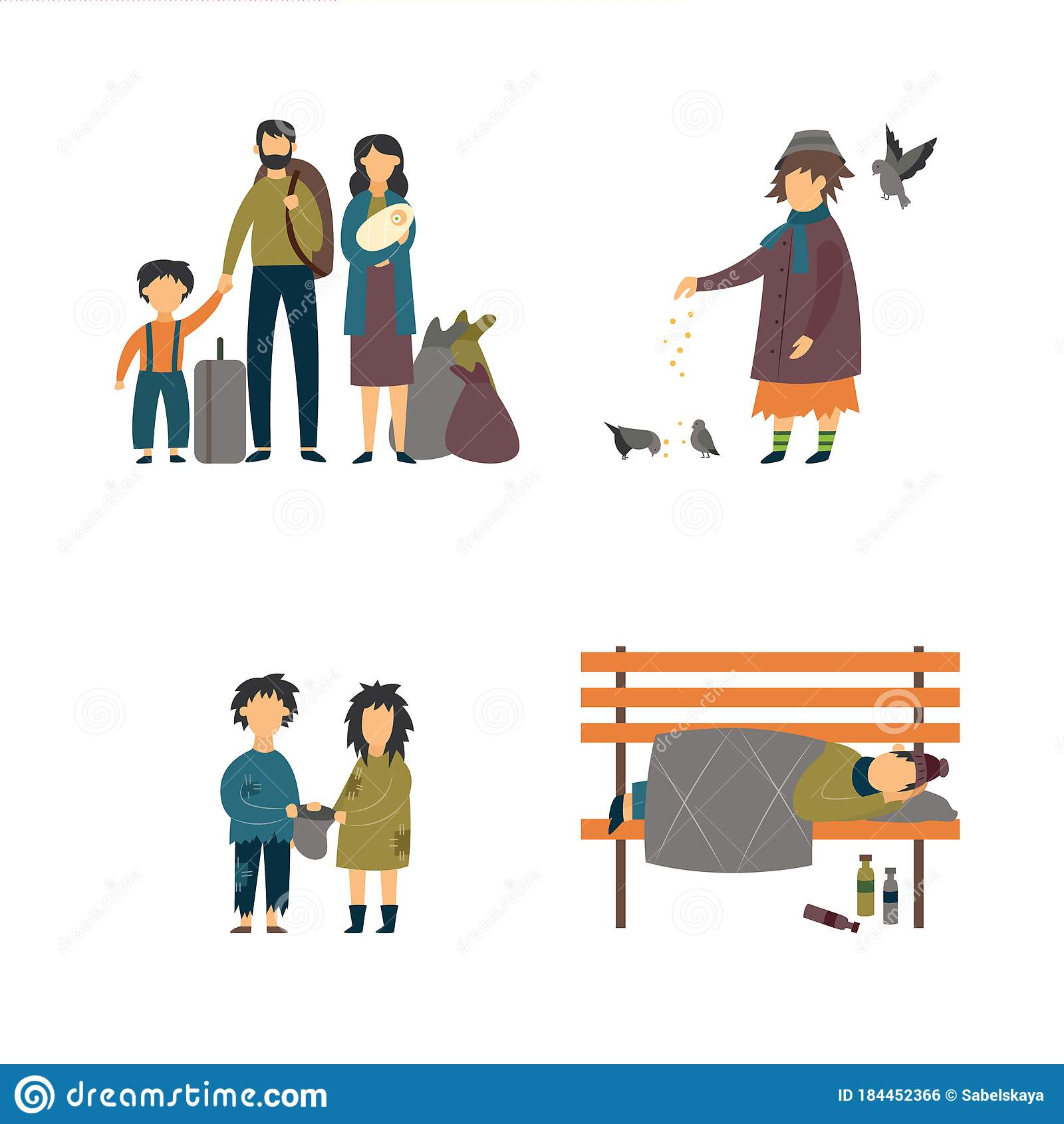 Homeless Children Needing For Help Royalty Free Cliparts, Vectors, And  Stock Illustration. Image 87434390.