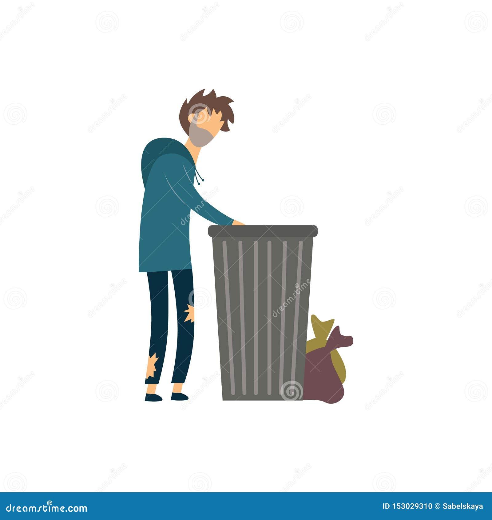 Homeless Beggar Man Digging In The Garbage Flat Vector ...