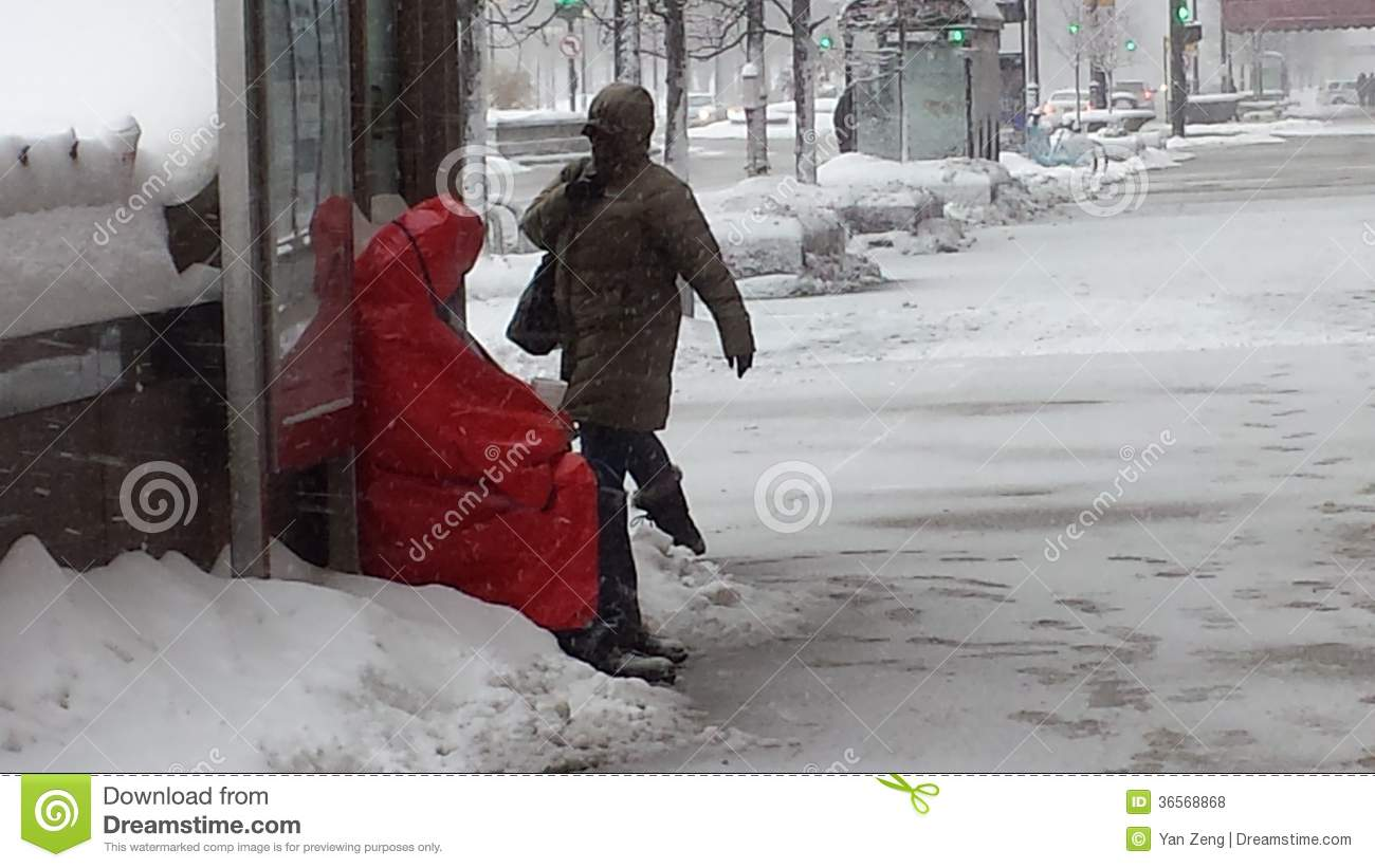 Homeless man found shelter at Bus Stop during Snow Storm