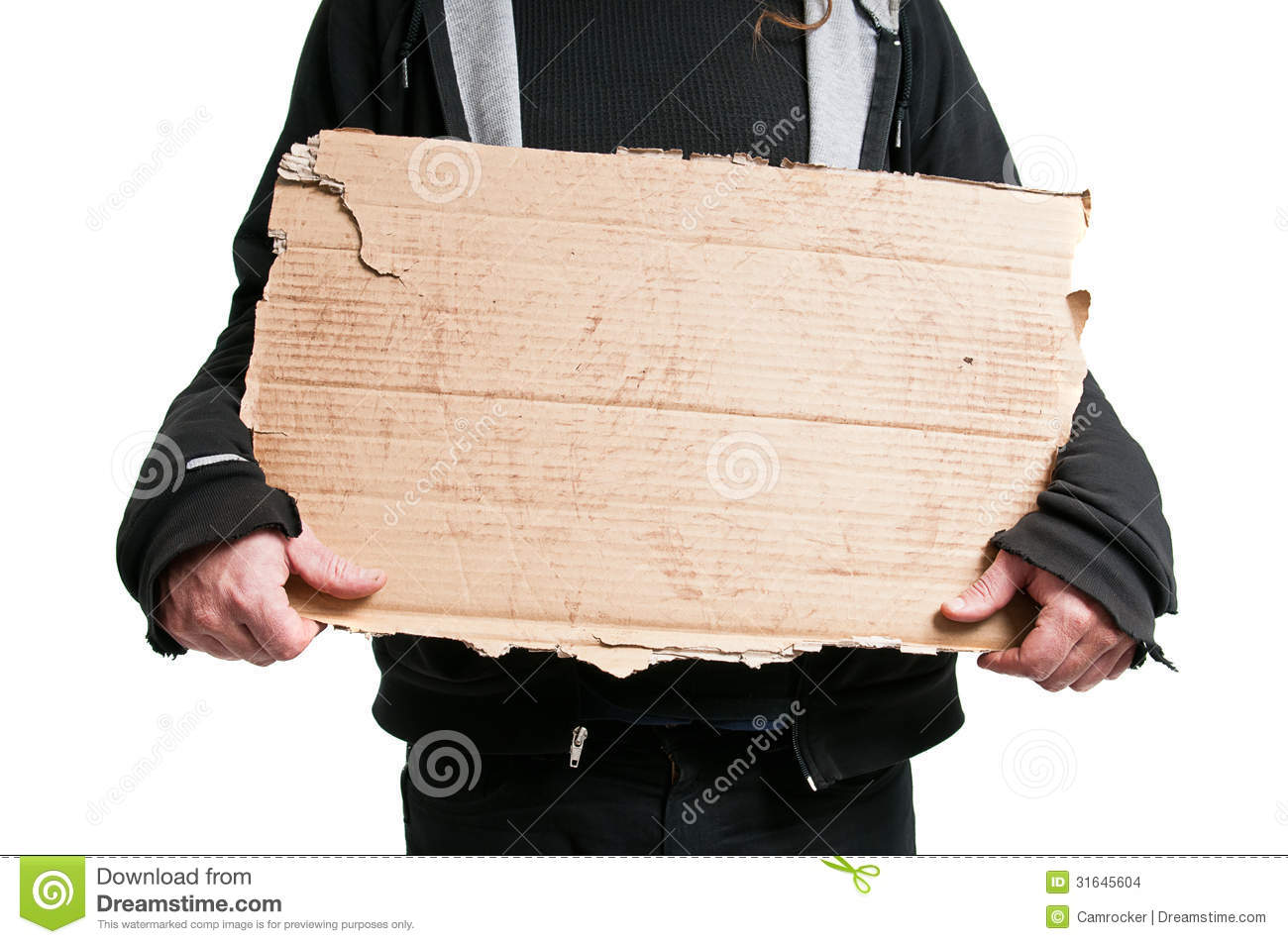 homeless man holding cardboard sign stock images image