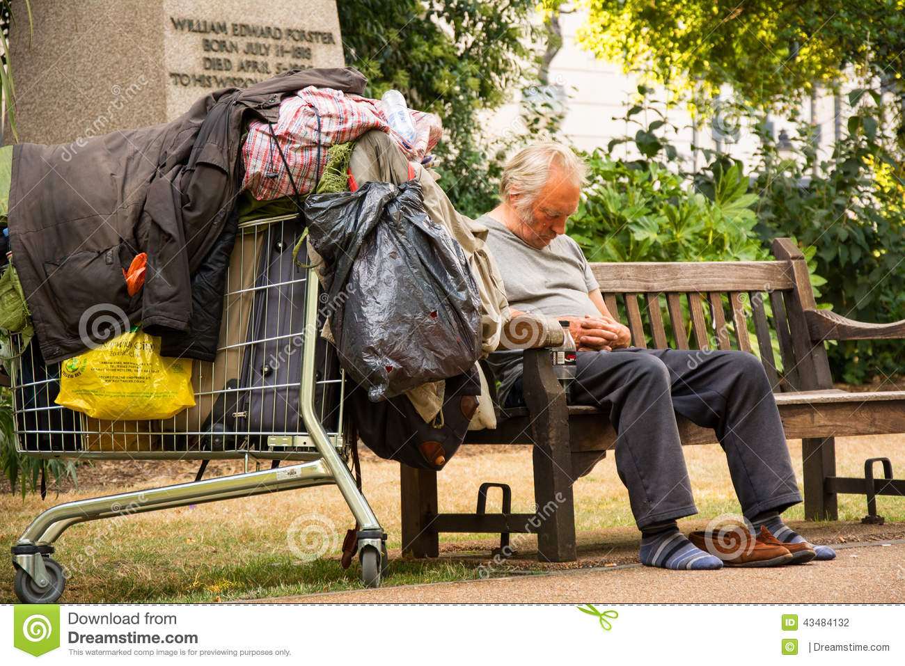 Homeless Man editorial photography. Image of bench ...
