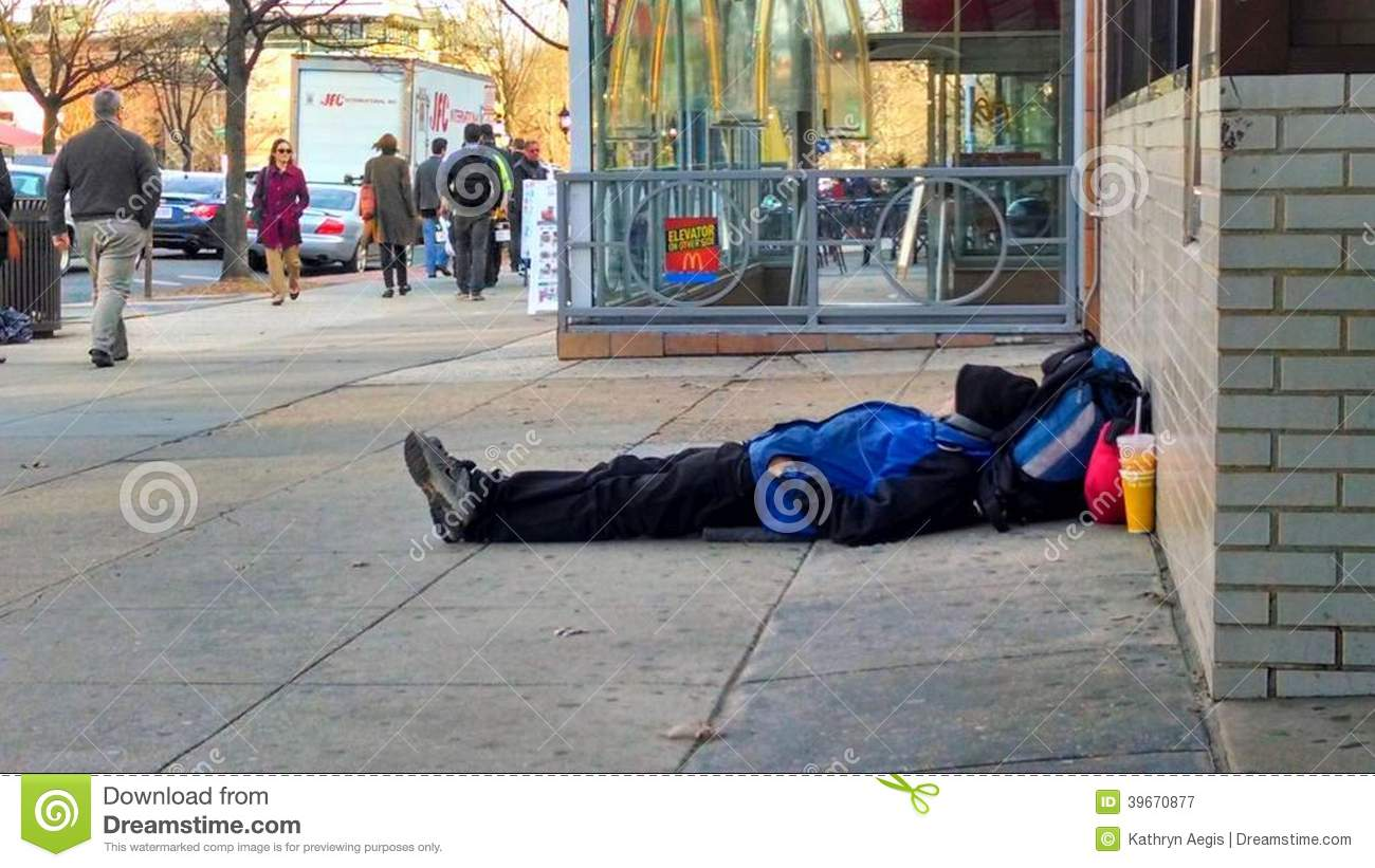 Homeless Man Sleeping On Sidewalk Editorial Photography ...