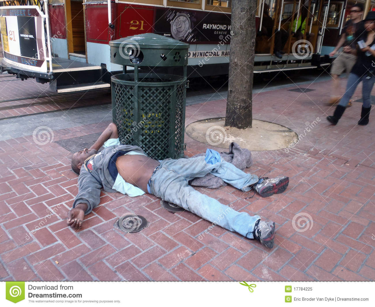 9c42830c56 Homeless Man Sleeps On Ground Resting Editorial Image - Image of ...