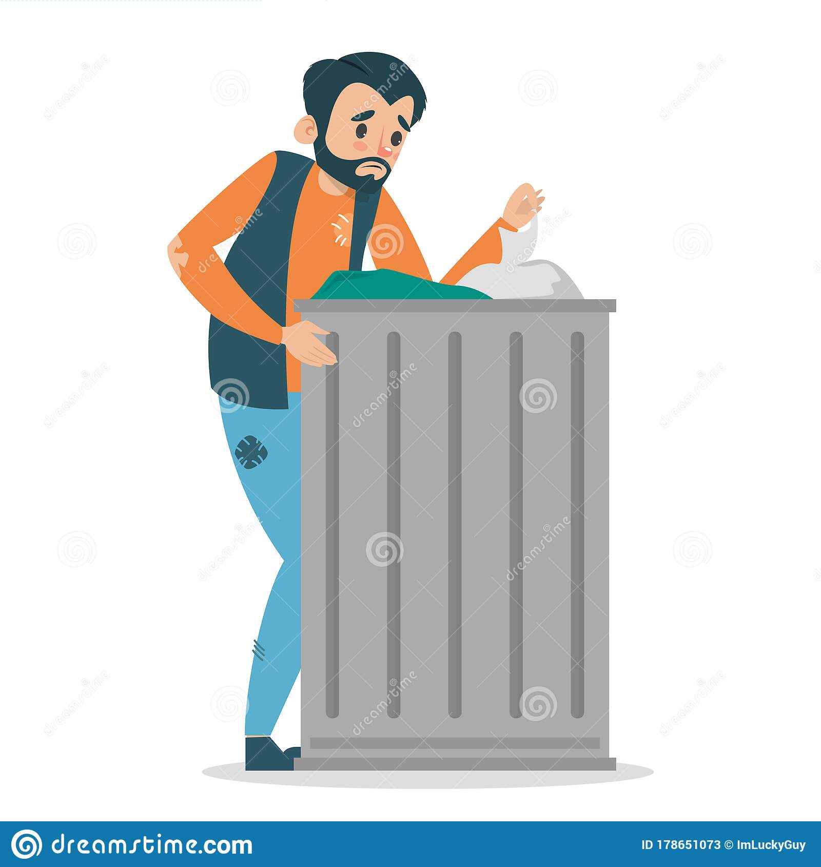 Homeless Man Standing At The Garbage Can Stock Illustration ...