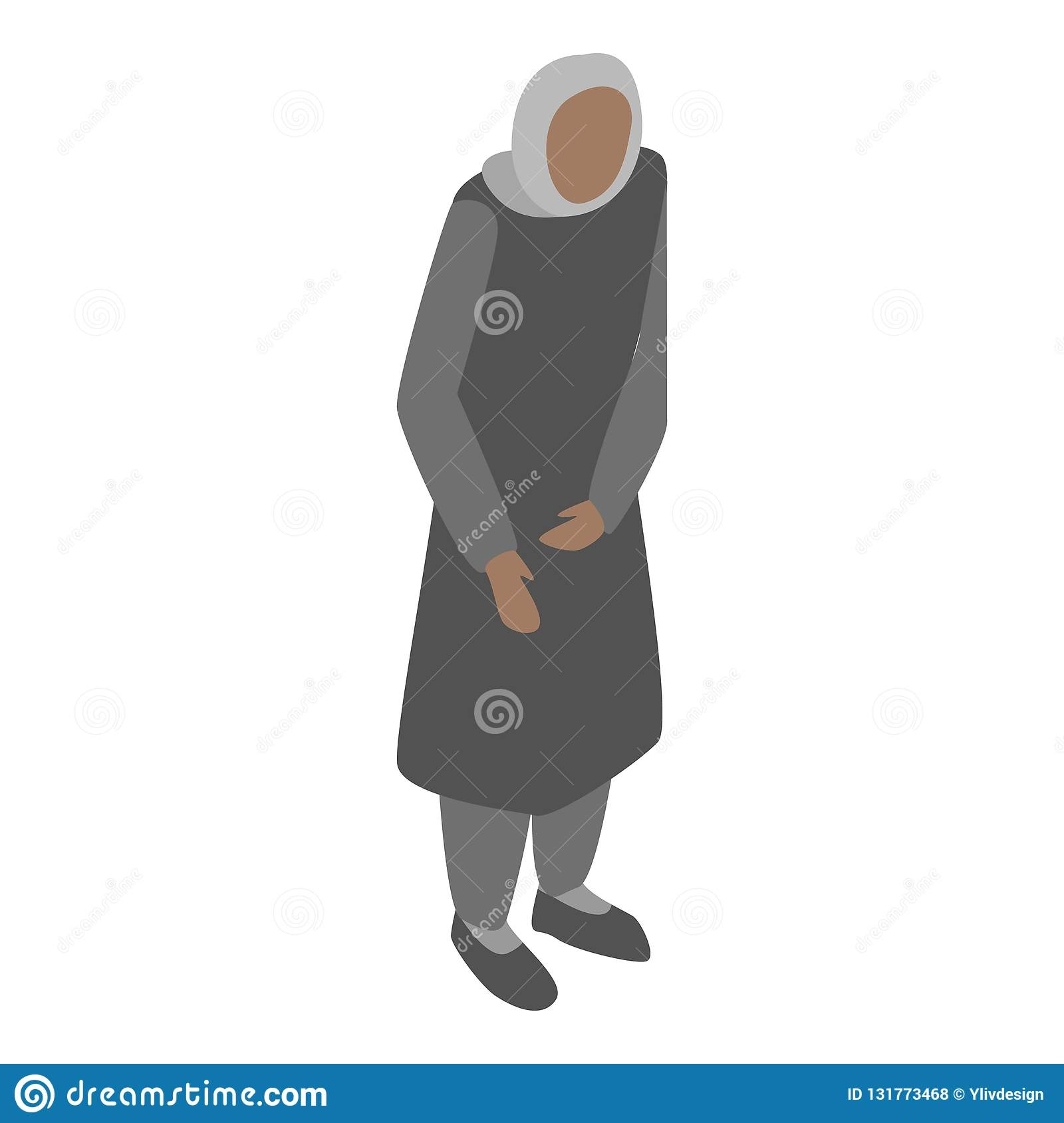 Homeless migrant woman icon, isometric style