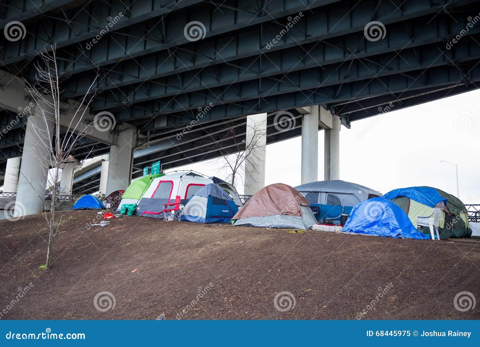 Homeless Tent Camp Portland Oregon Editorial Image Image