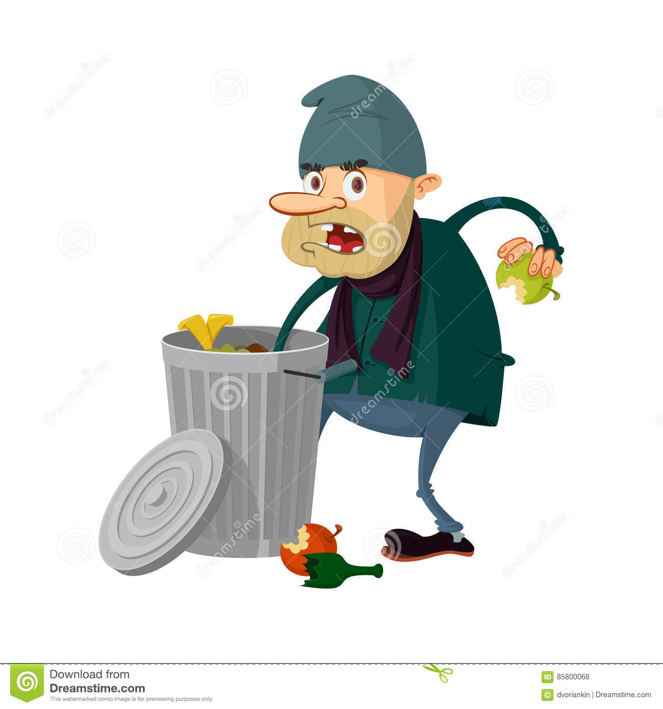 Homeless and trashcan stock vector. Illustration of food   10