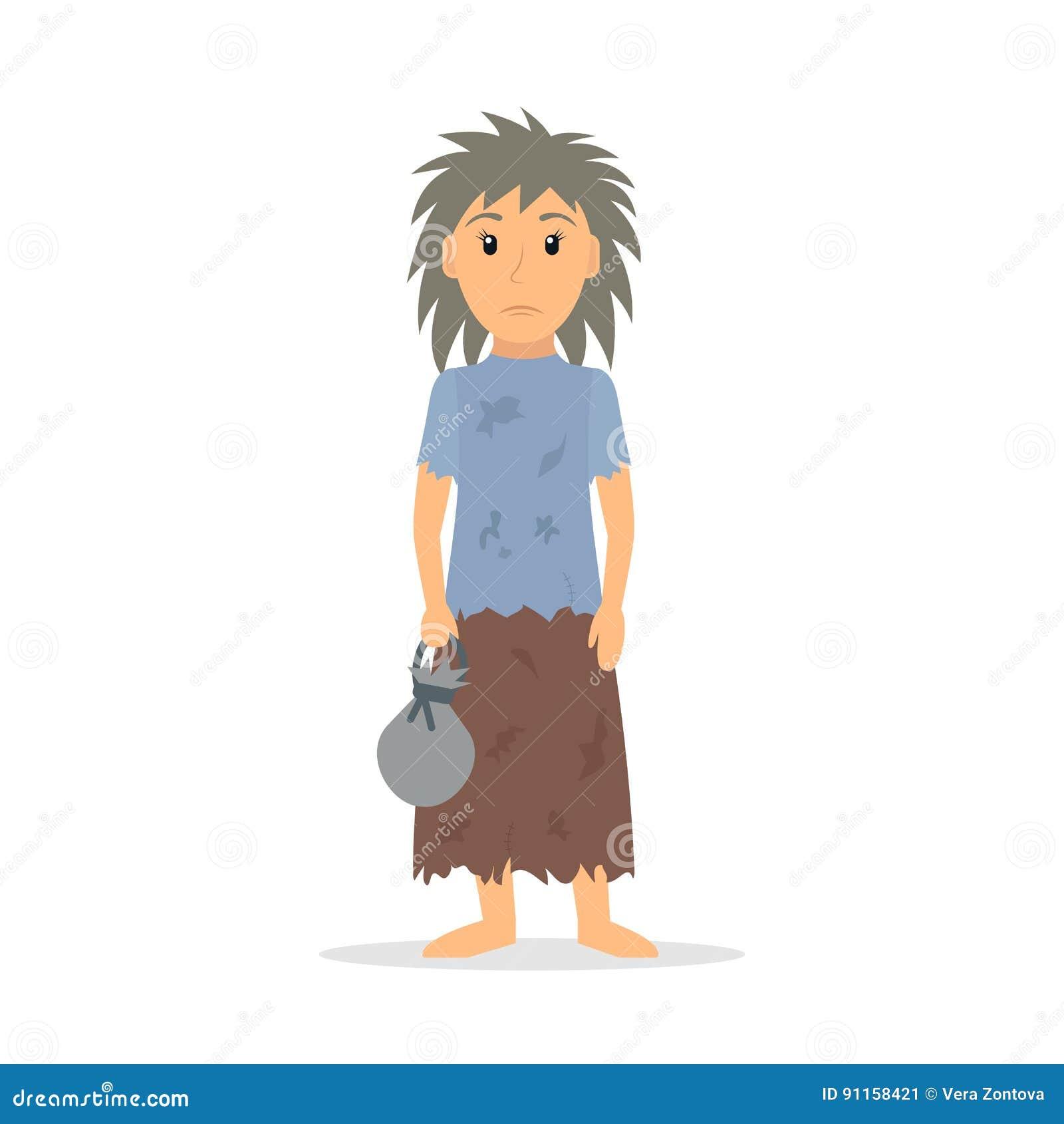 Homeless woman character. stock vector. Illustration of broke ...