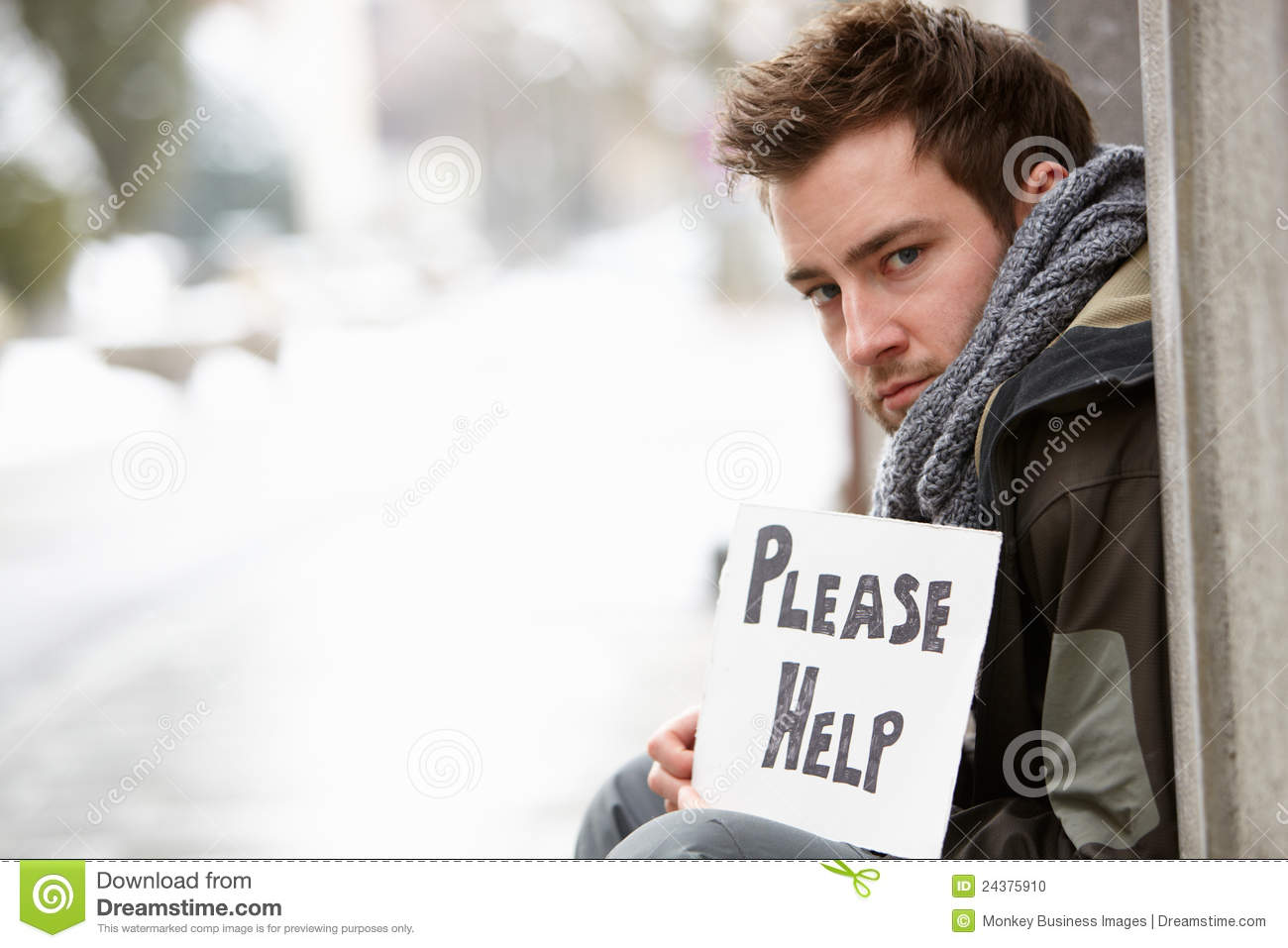 Homeless Young Man Begging In Street Stock Photo