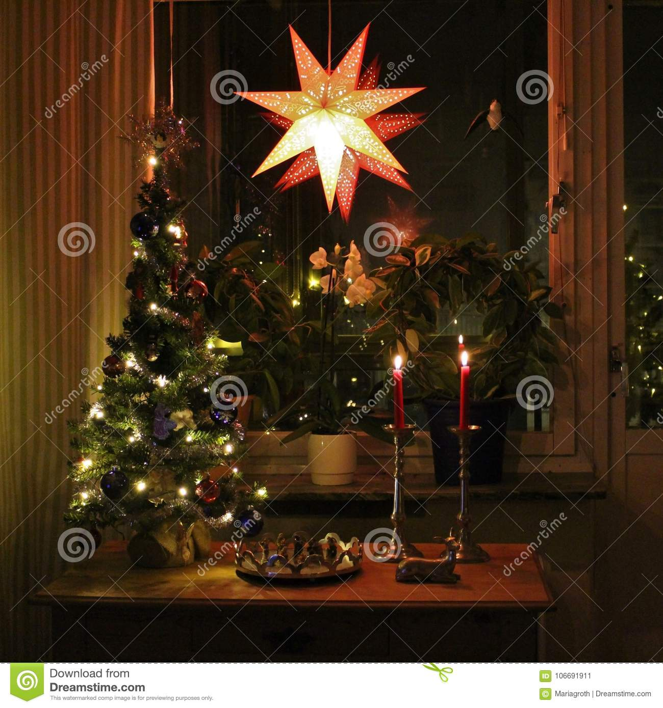 A Homely And Christmas Decorated Living Room Stock Image Image Of Holiday Peace 106691911