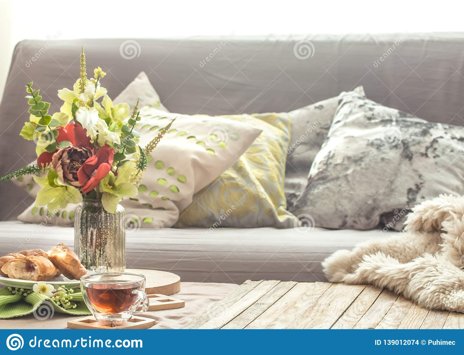 Homely Cozy Spring Interior In The Living Room Stock Photo ...