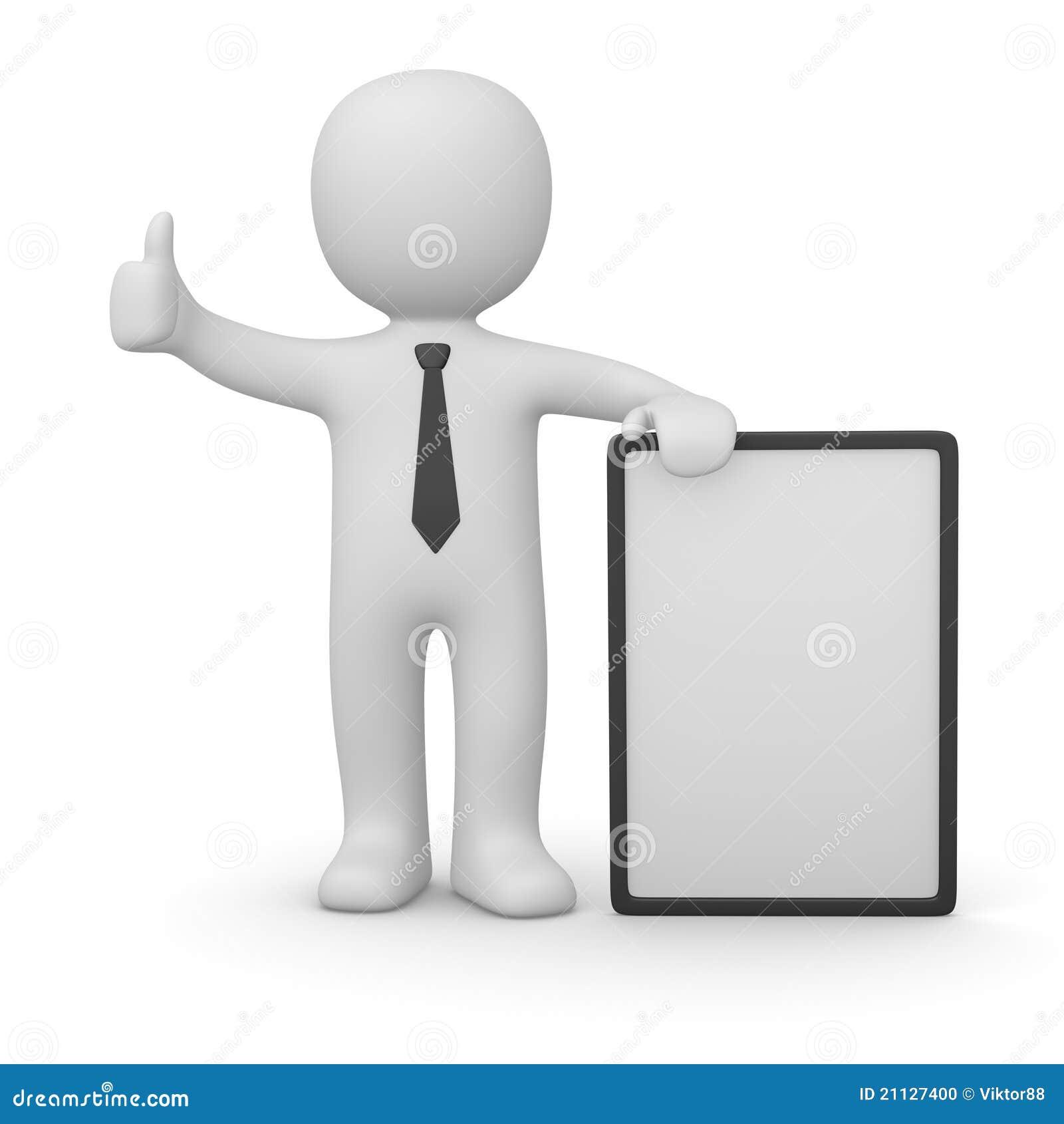 Homem 3d com poster branco
