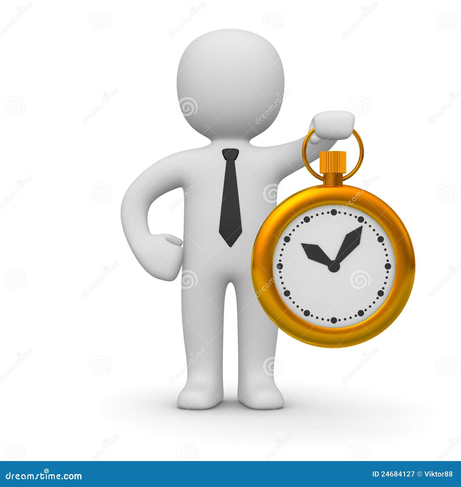 Homem 3d com um relógio