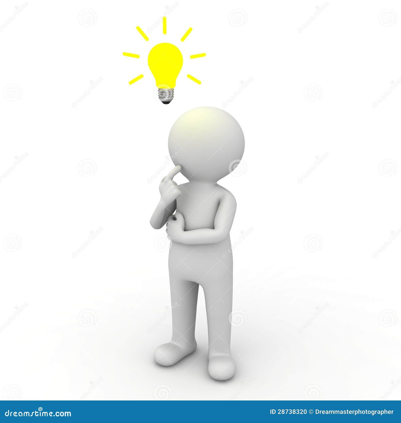Homem 3d que pensa com o bulbo da ideia acima de sua cabeça