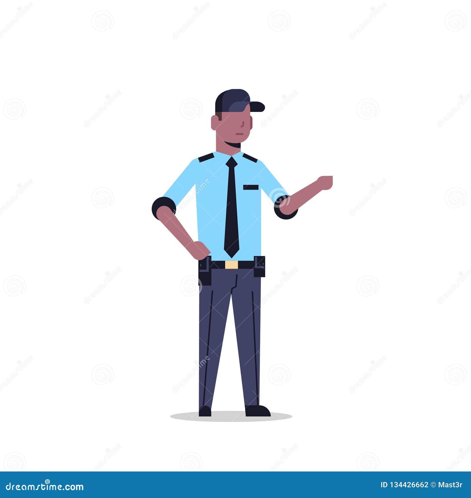 Homem afro-americano do agente de segurança no ponto uniforme a algo plano completo do comprimento do personagem de banda desenha