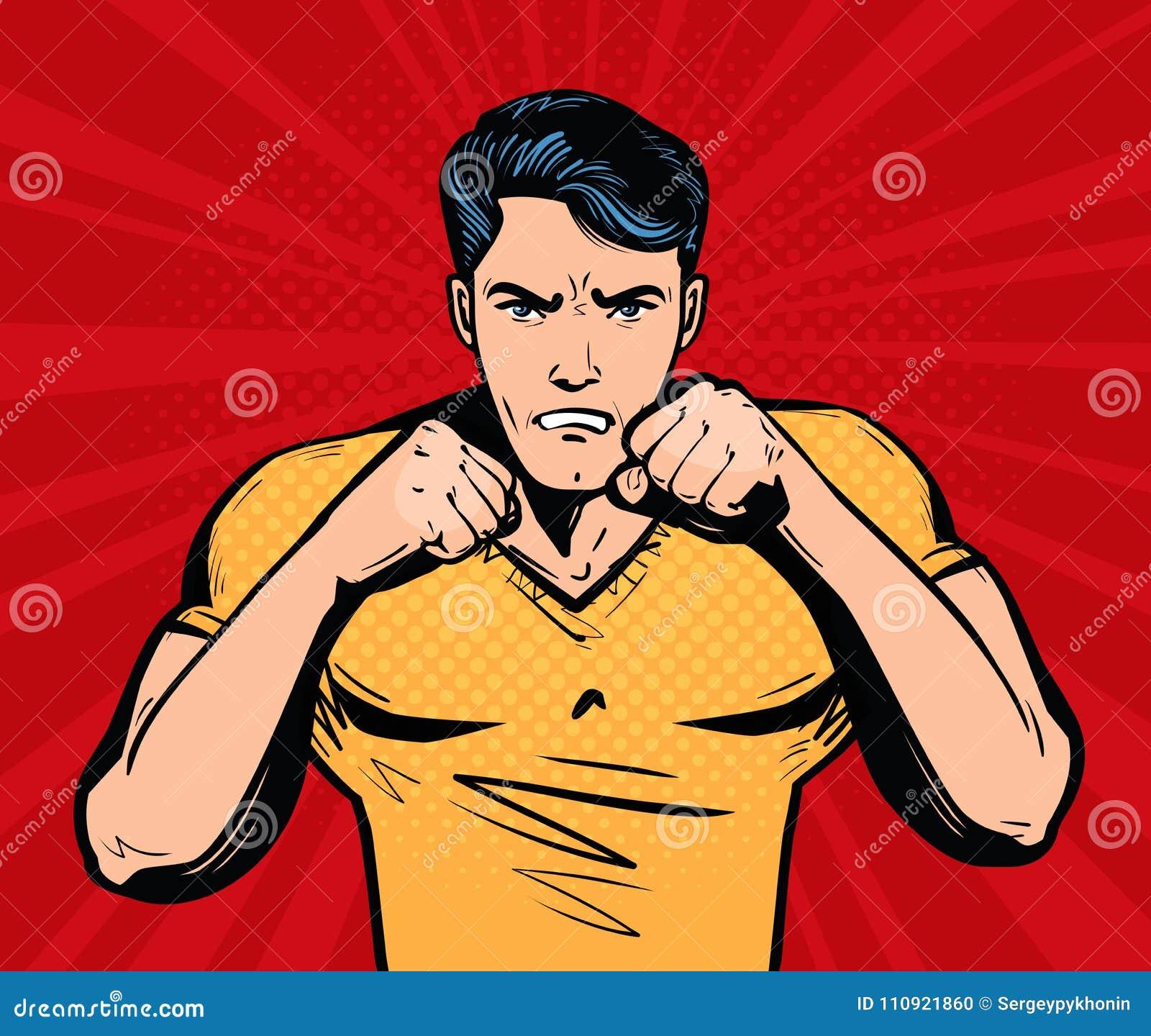 Homem Agressivo E Irritado Com Punhos Lutador Conceito Do Clube