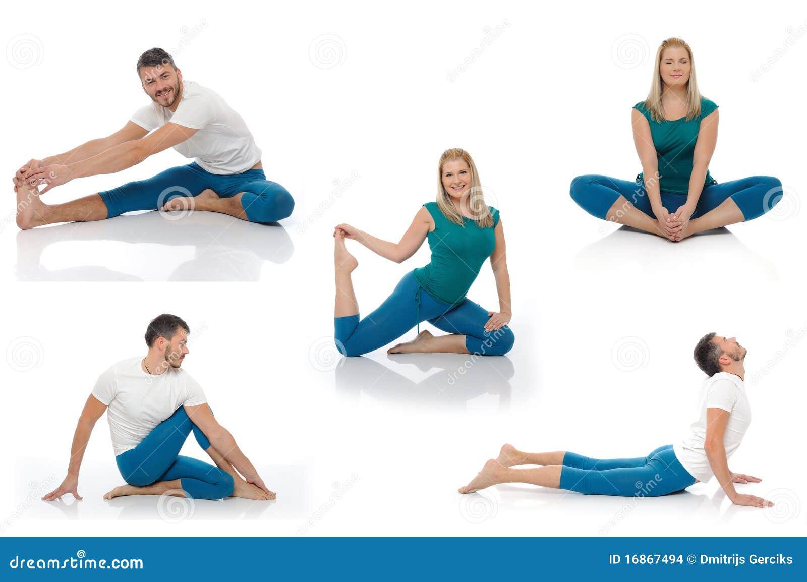 Homem ativo e mulher que fazem poses da aptidão da ioga