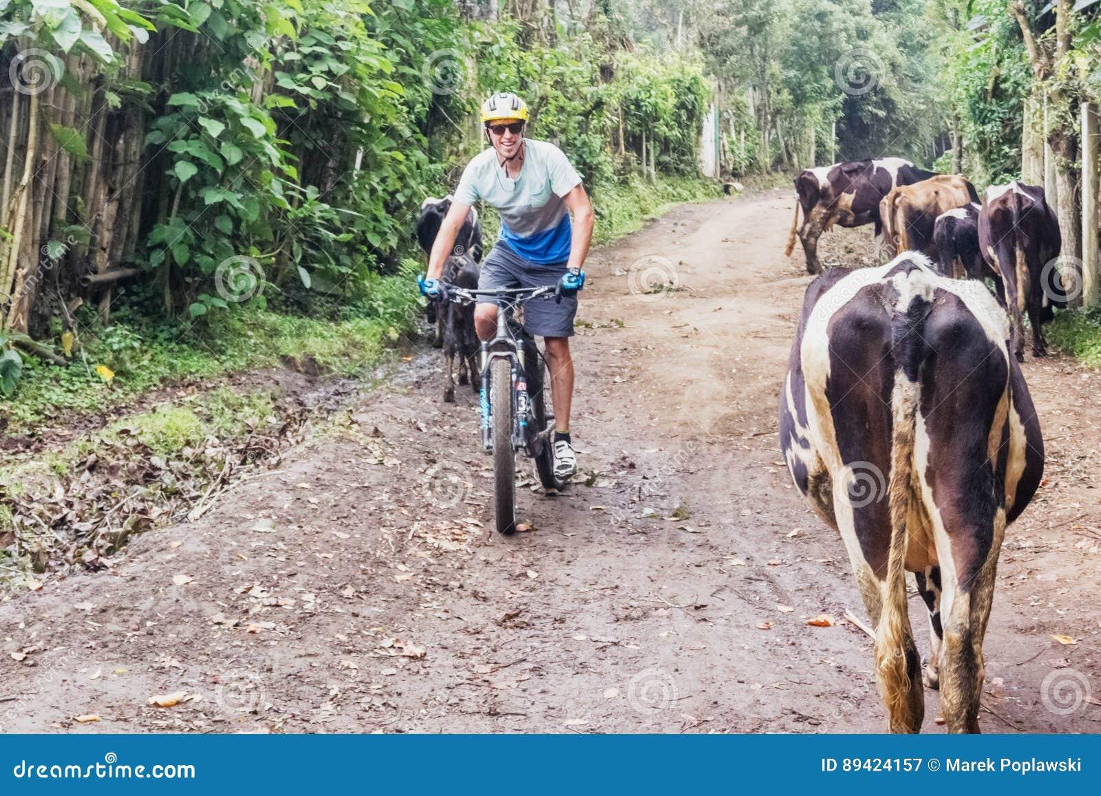 Homem, bicicleta de montada nas montanhas da Guatemala
