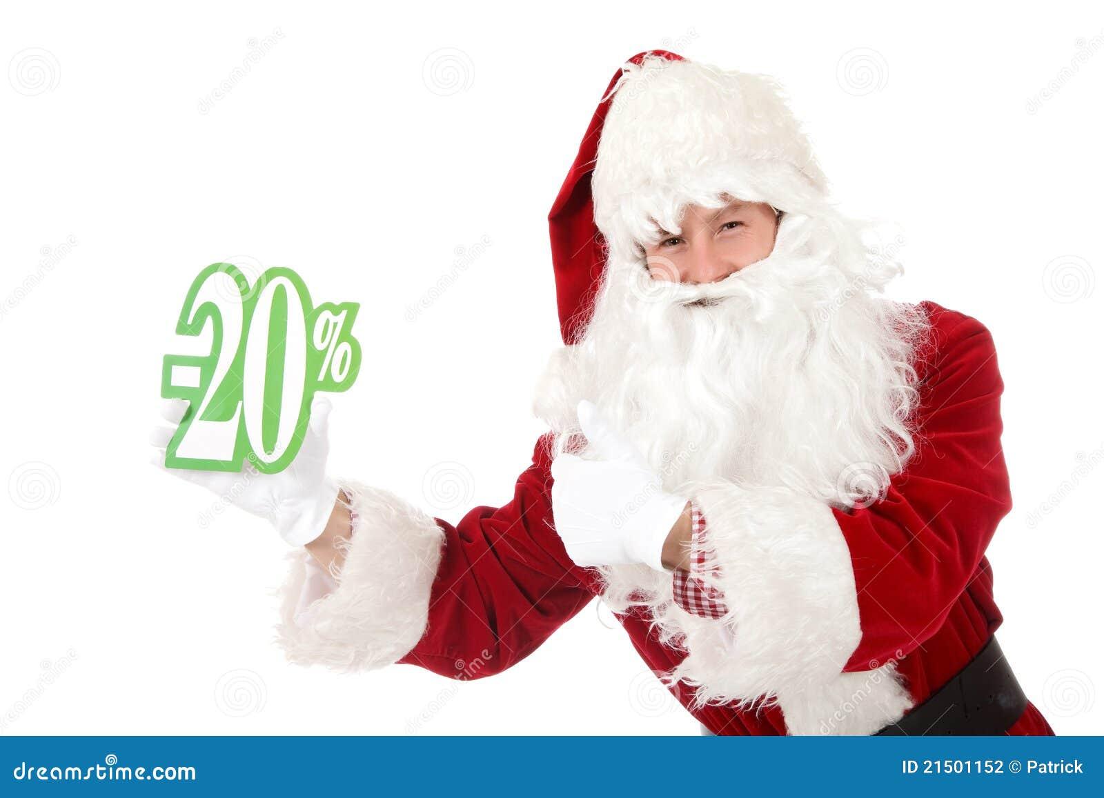 Homem caucasiano novo Papai Noel, disconto