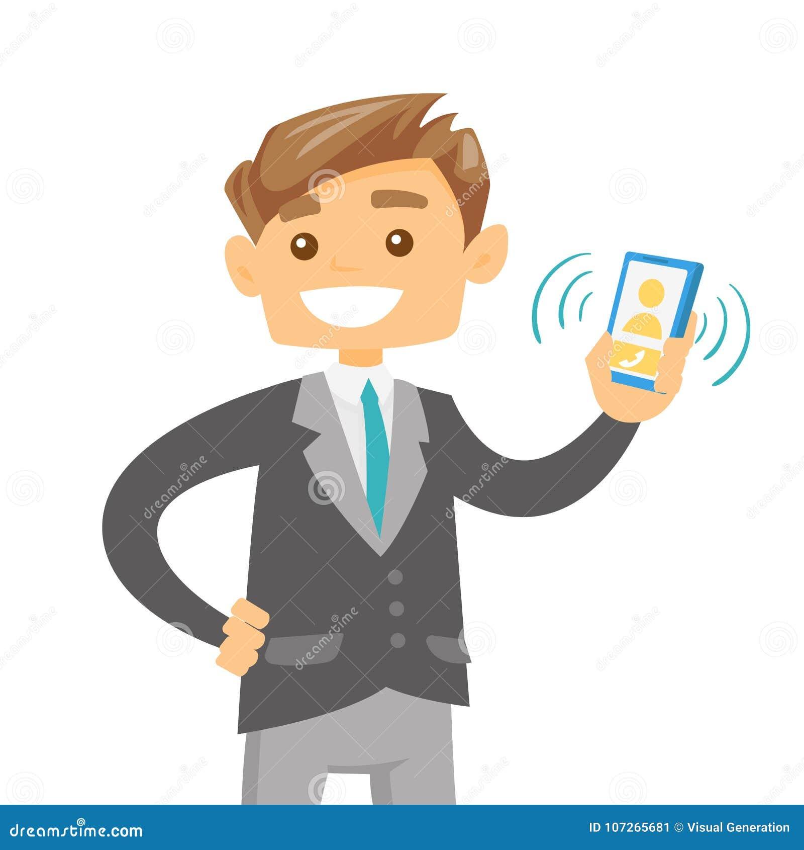 Homem caucasiano novo que guarda o telefone celular de soada