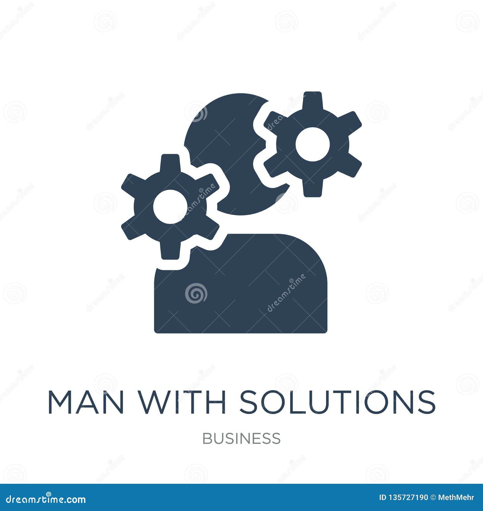 Homem com ícone das soluções no estilo na moda do projeto homem com o ícone das soluções isolado no fundo branco homem com vetor