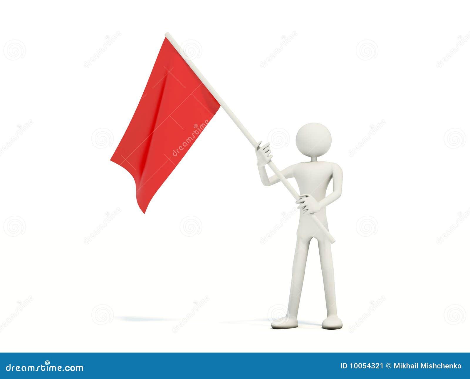 Homem com bandeira vermelha