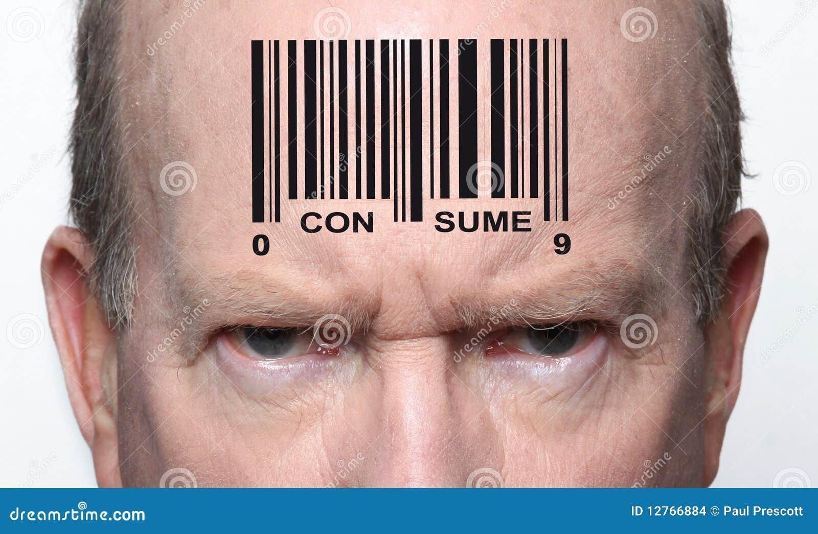 Homem com código de barras foto de stock. Imagem de conceito ...