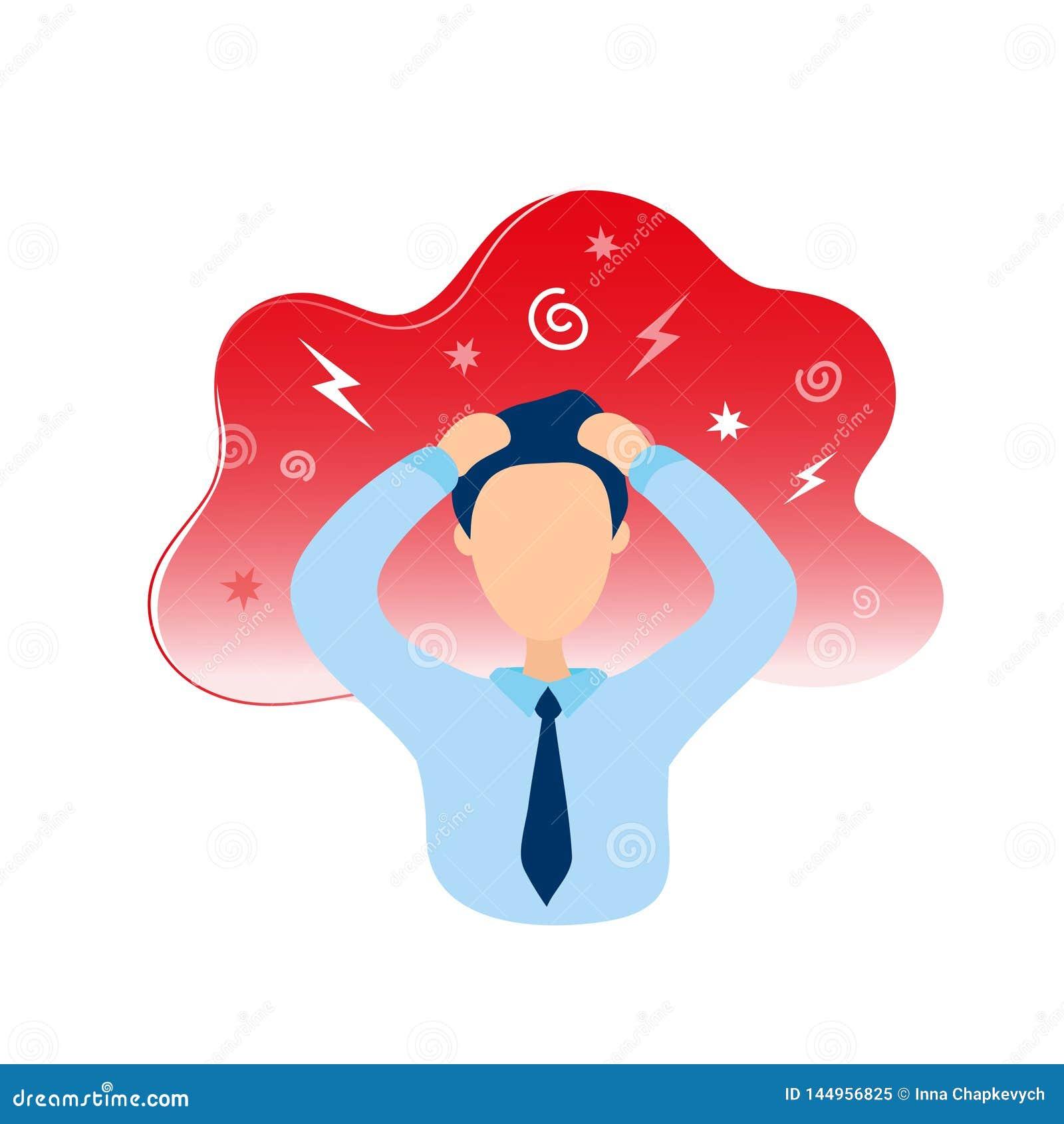Homem com cabeça da terra arrendada da dor de cabeça nas mãos