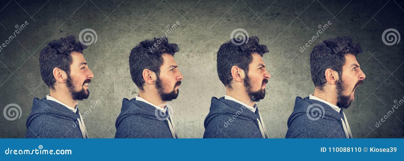 Homem com emoções e expressões diferentes da cara