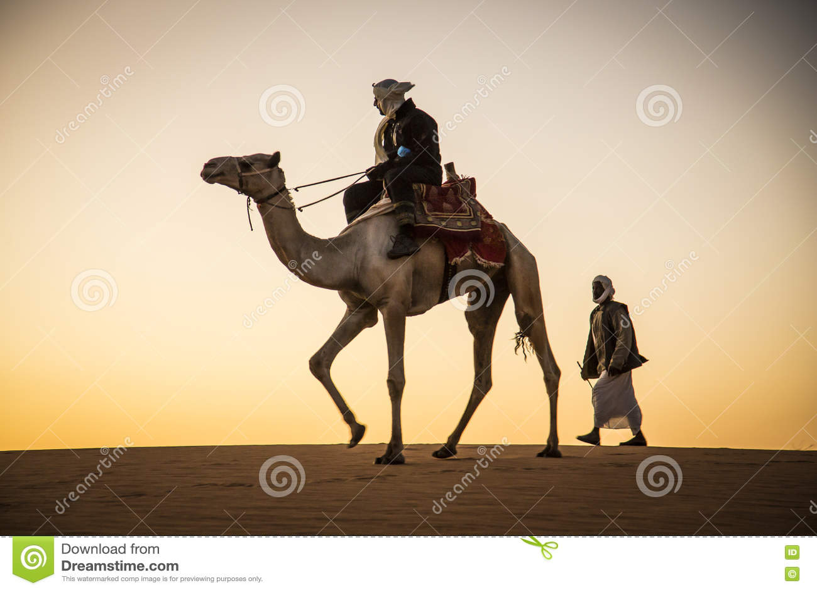 Homem com um camelo em um deserto em Sudão