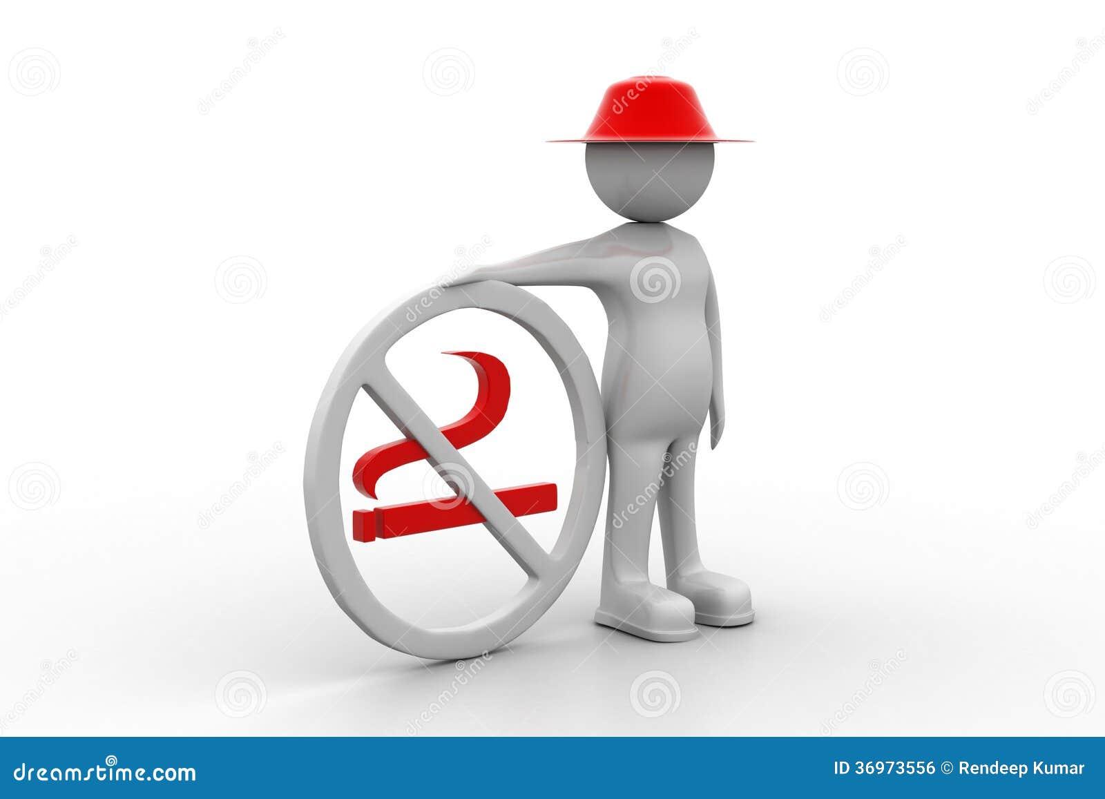 Homem 3d com símbolo não fumadores