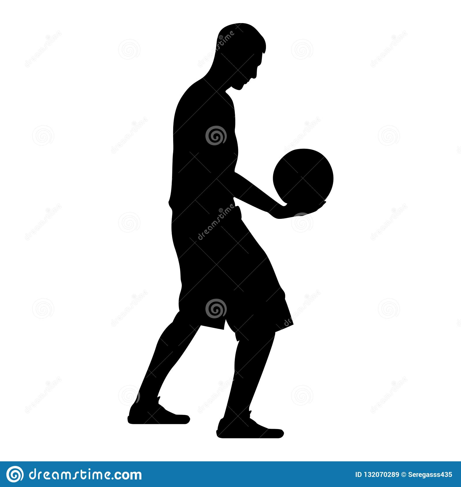 Homem da bola da terra arrendada do jogador de basquetebol que guarda a ilustração de cor do preto do ícone da silhueta do basque