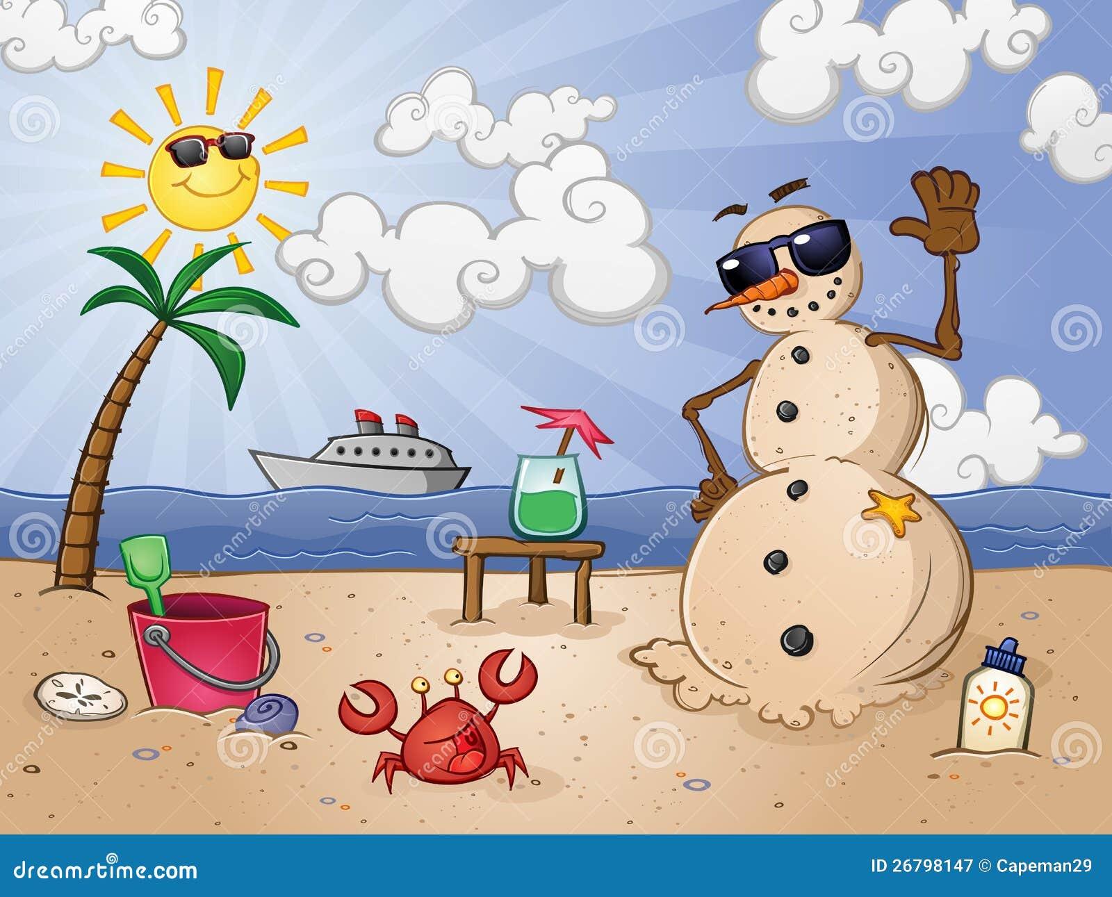 Homem da neve da areia na praia