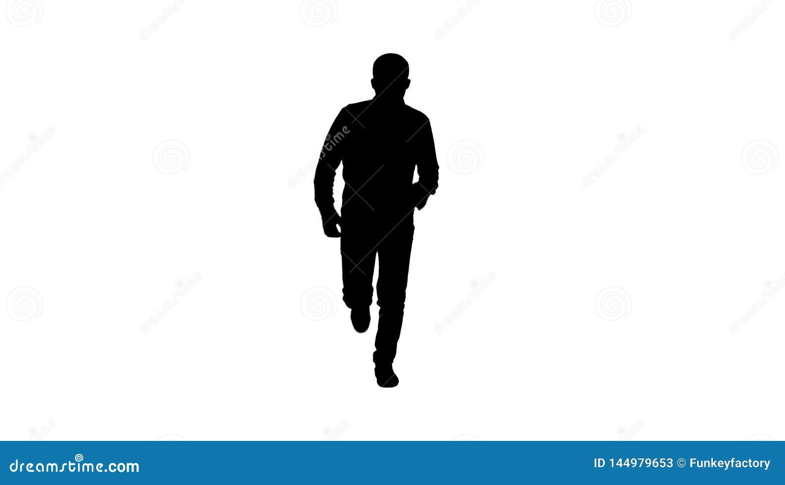 Homem da silhueta que come?a correr na roupa ocasional