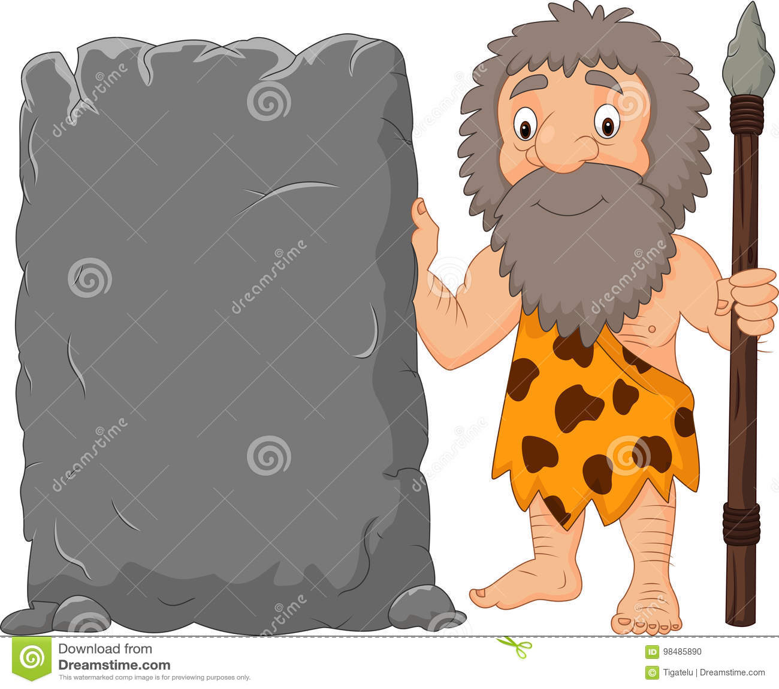 Homem Das Cavernas Dos Desenhos Animados Que Guarda O Sinal De