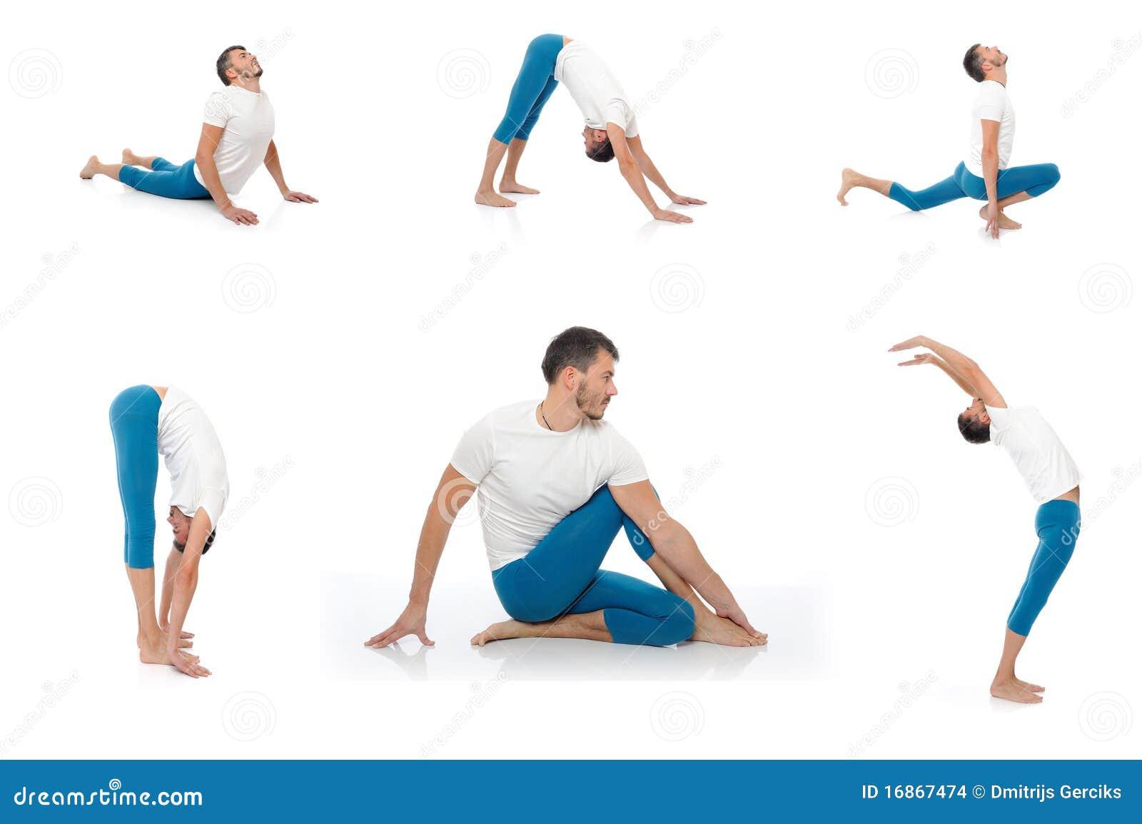 Homem de Group.active que faz poses da aptidão da ioga