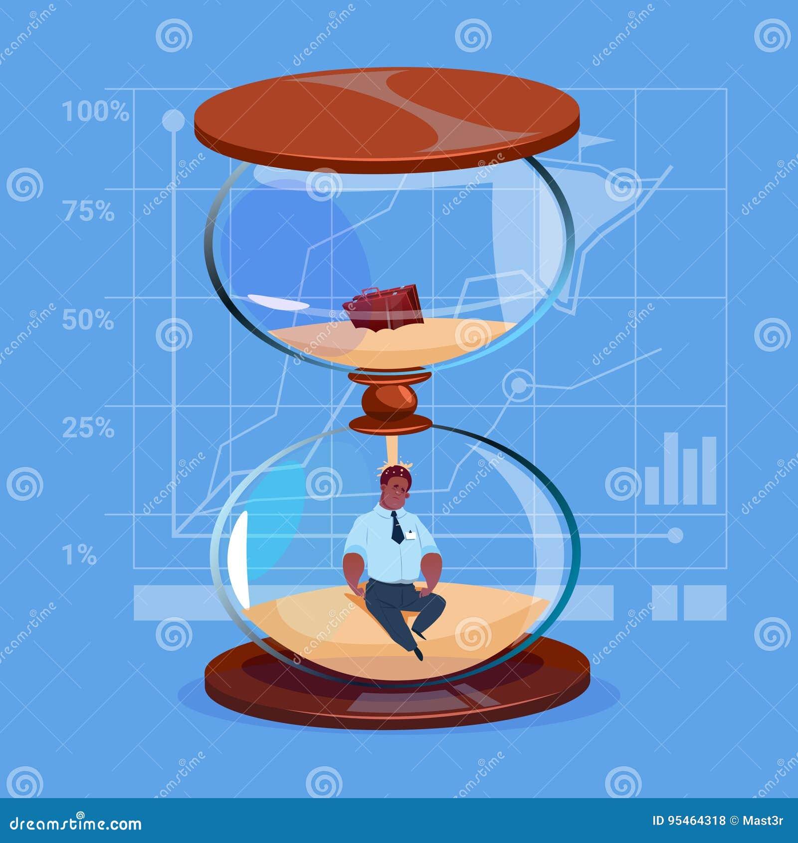 8480af78b51 Homem de negócio afro-americano dentro da ilustração lisa do vetor do  conceito da gestão de tempo do fim do prazo do pulso de disparo do relógio  da areia