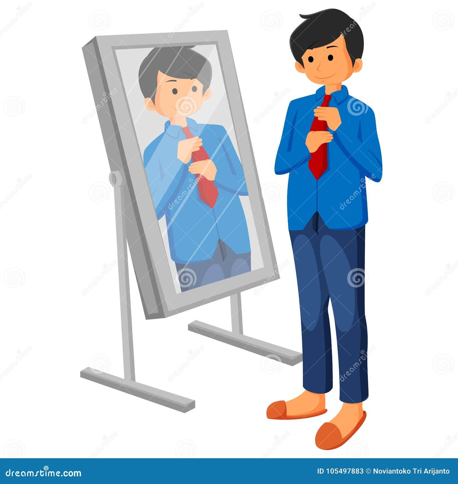 Homem de negócio caucasiano que ajusta o laço na frente do mirrorr