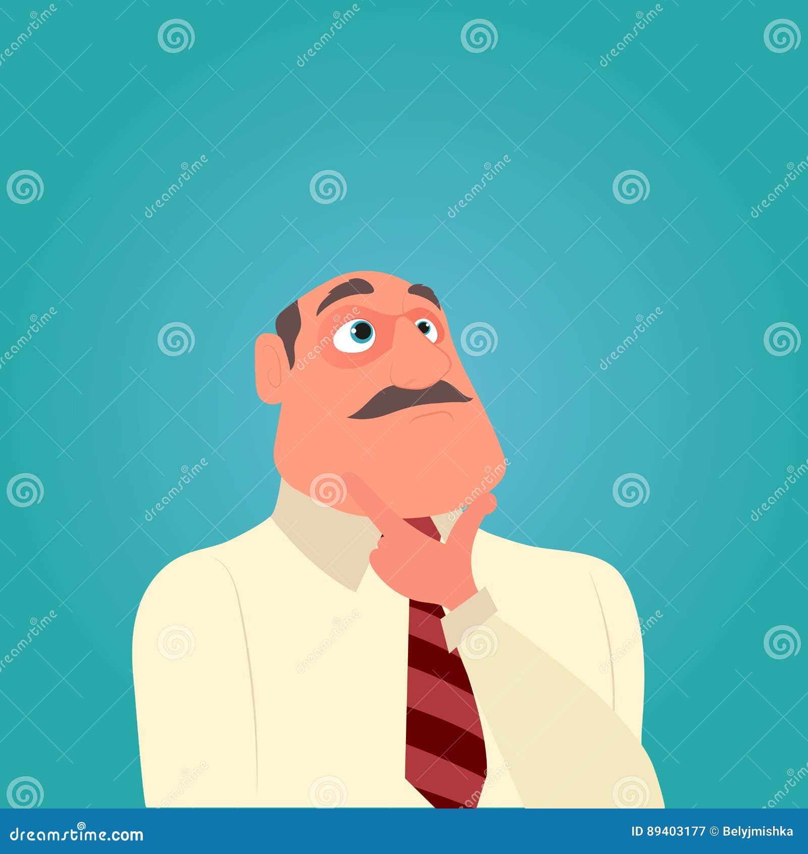 Homem de negócio de pensamento com um bigode