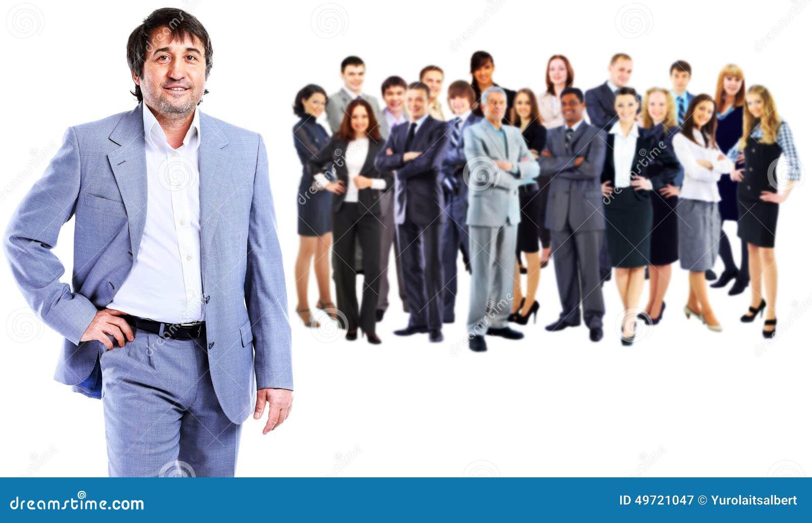 Homem de negócio e sua equipe
