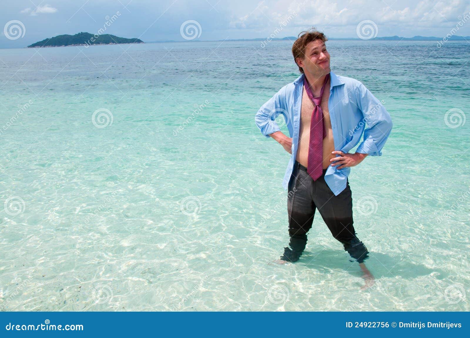 457519d6e Homem De Negócio Engraçado Na Praia Foto de Stock - Imagem de ...