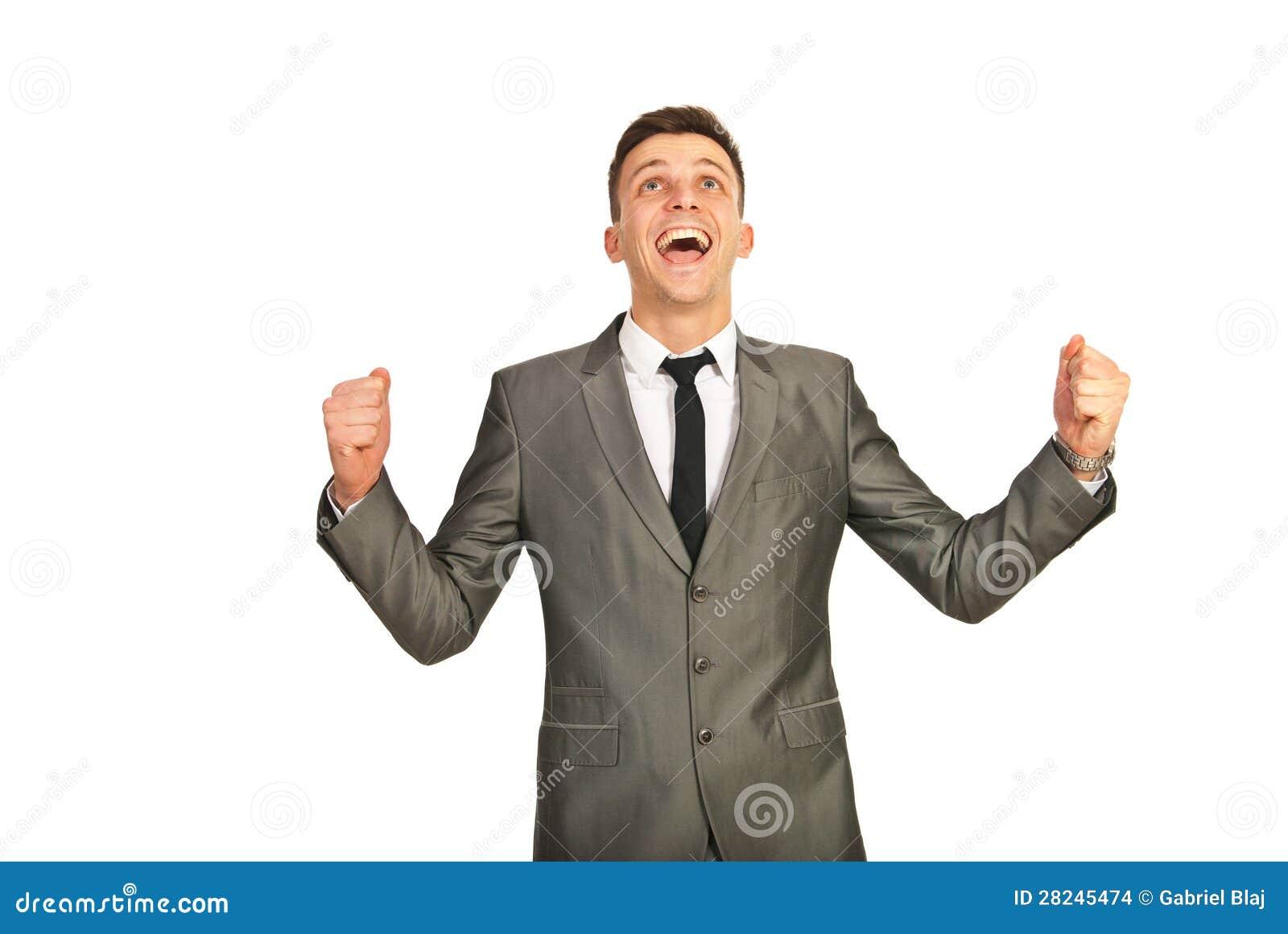 Homem de negócio feliz do vencedor