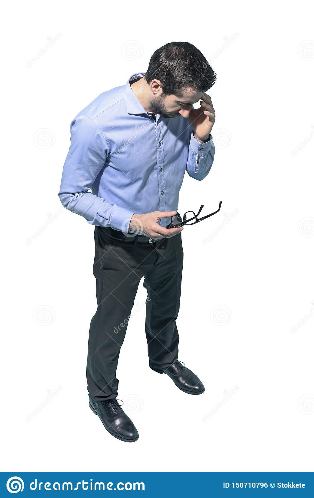 Homem de negócio forçado Tired com dor de cabeça