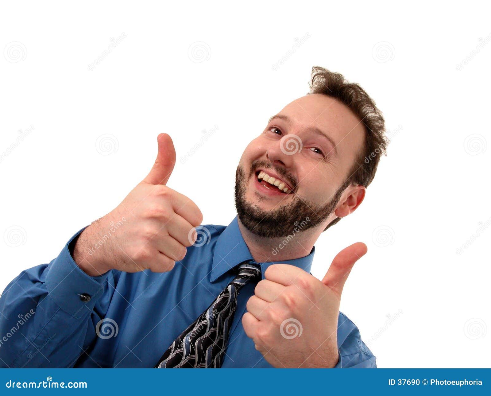 Homem de negócio no azul (polegares acima)