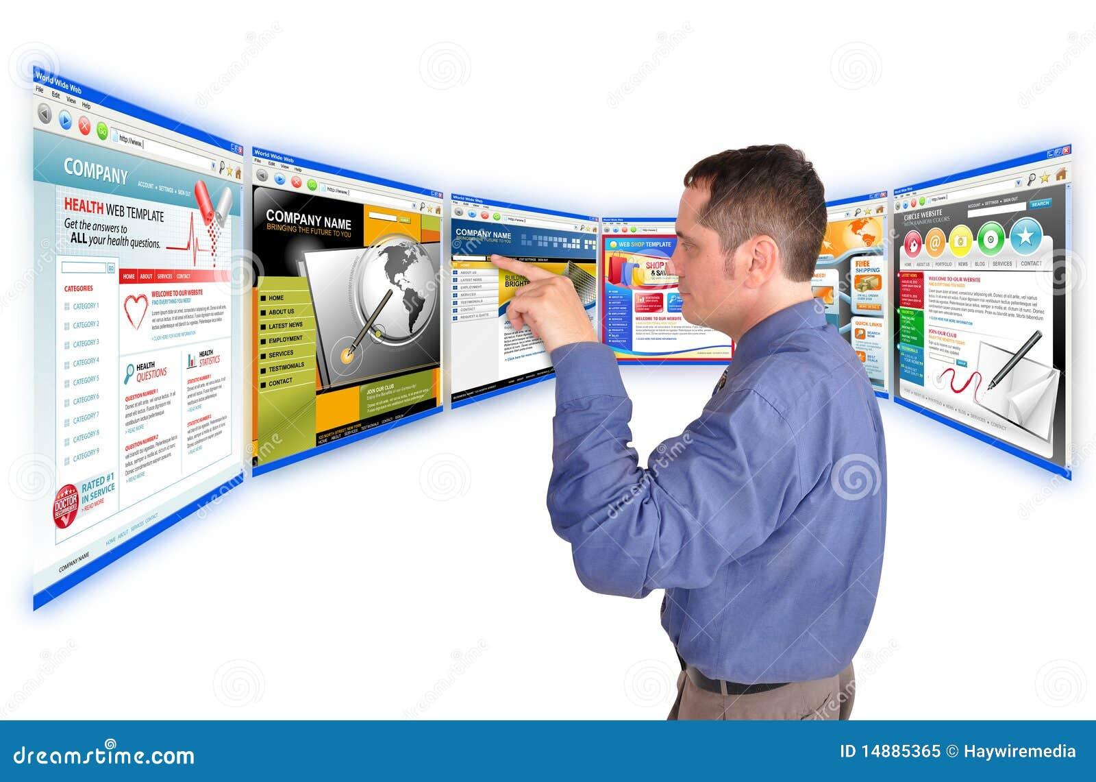 Homem de negócio no Web site do Internet