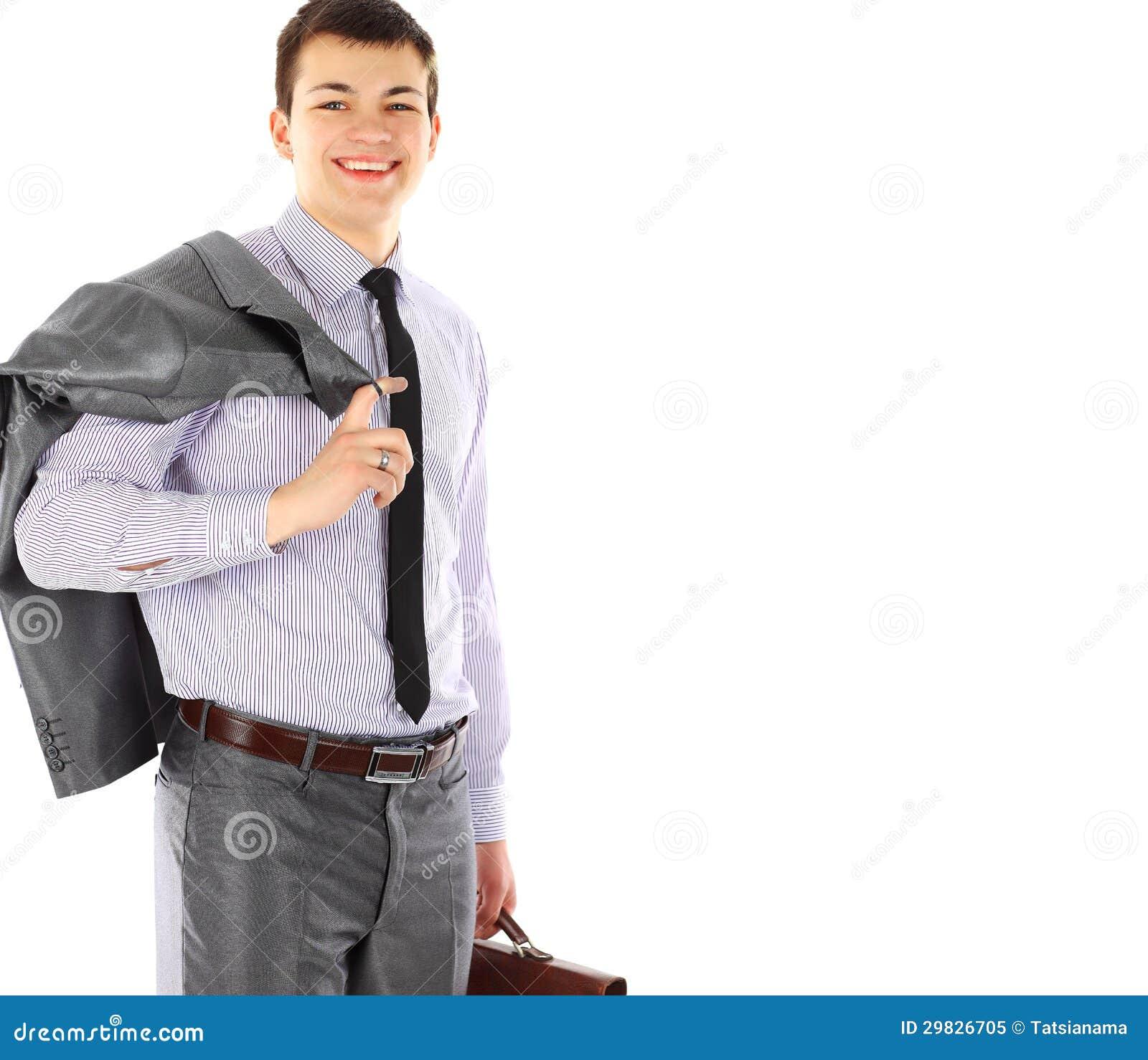 Homem de negócio novo com retrato da pasta