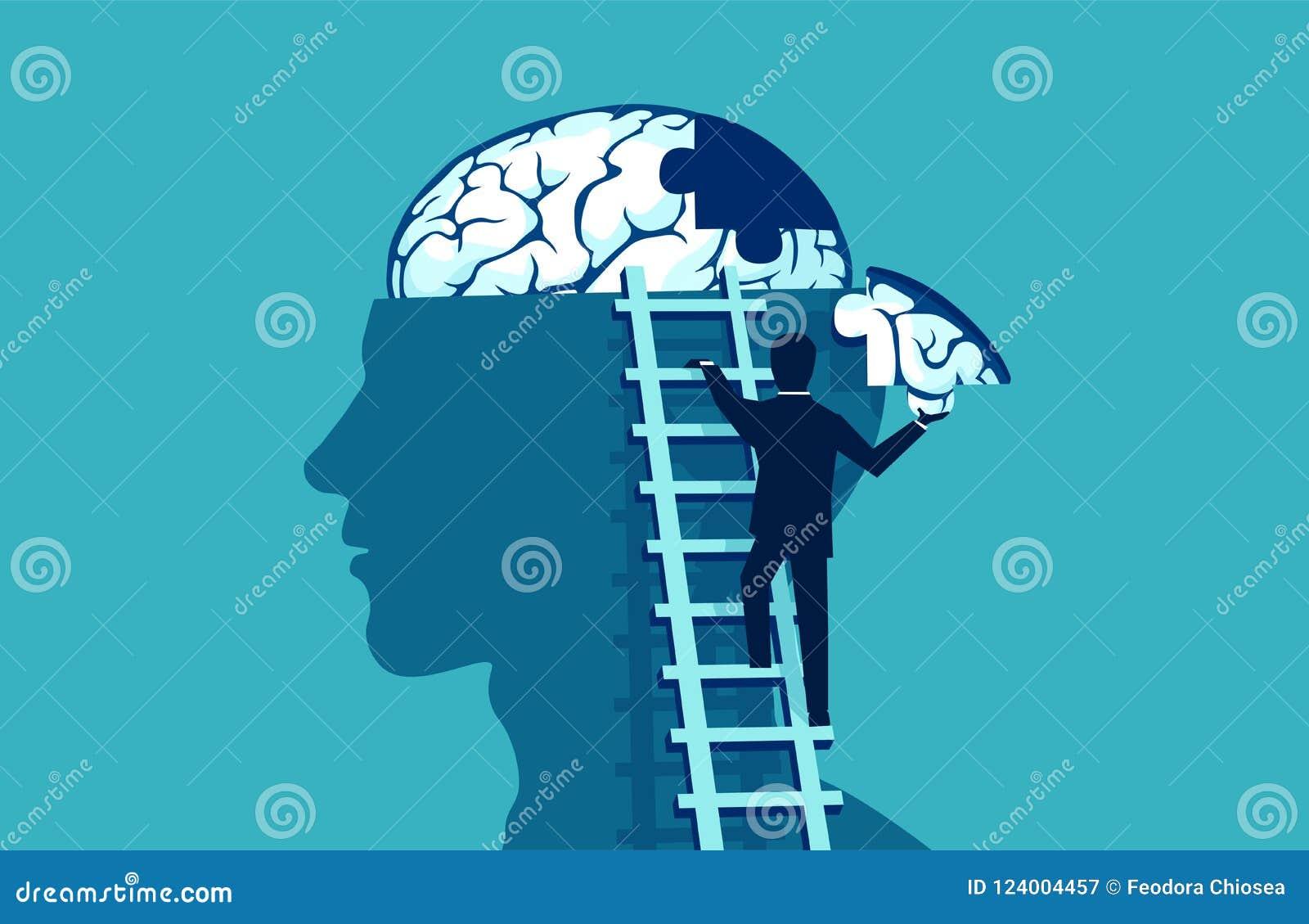 Homem de negócio que escala acima as escadas que alcançam a cabeça humana para adicionar a parte de enigma do cérebro