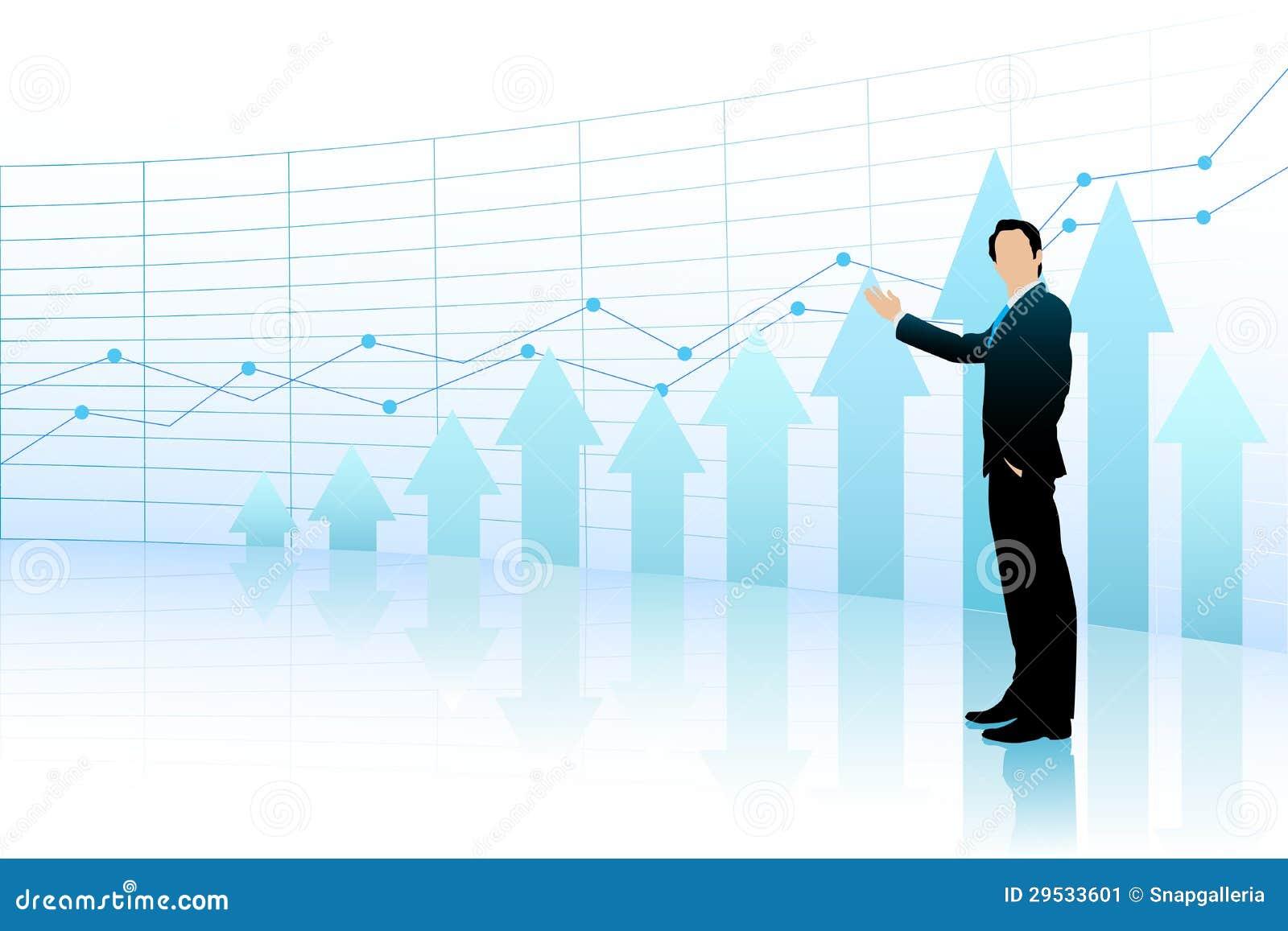 Homem de negócio que mostra o gráfico de barra