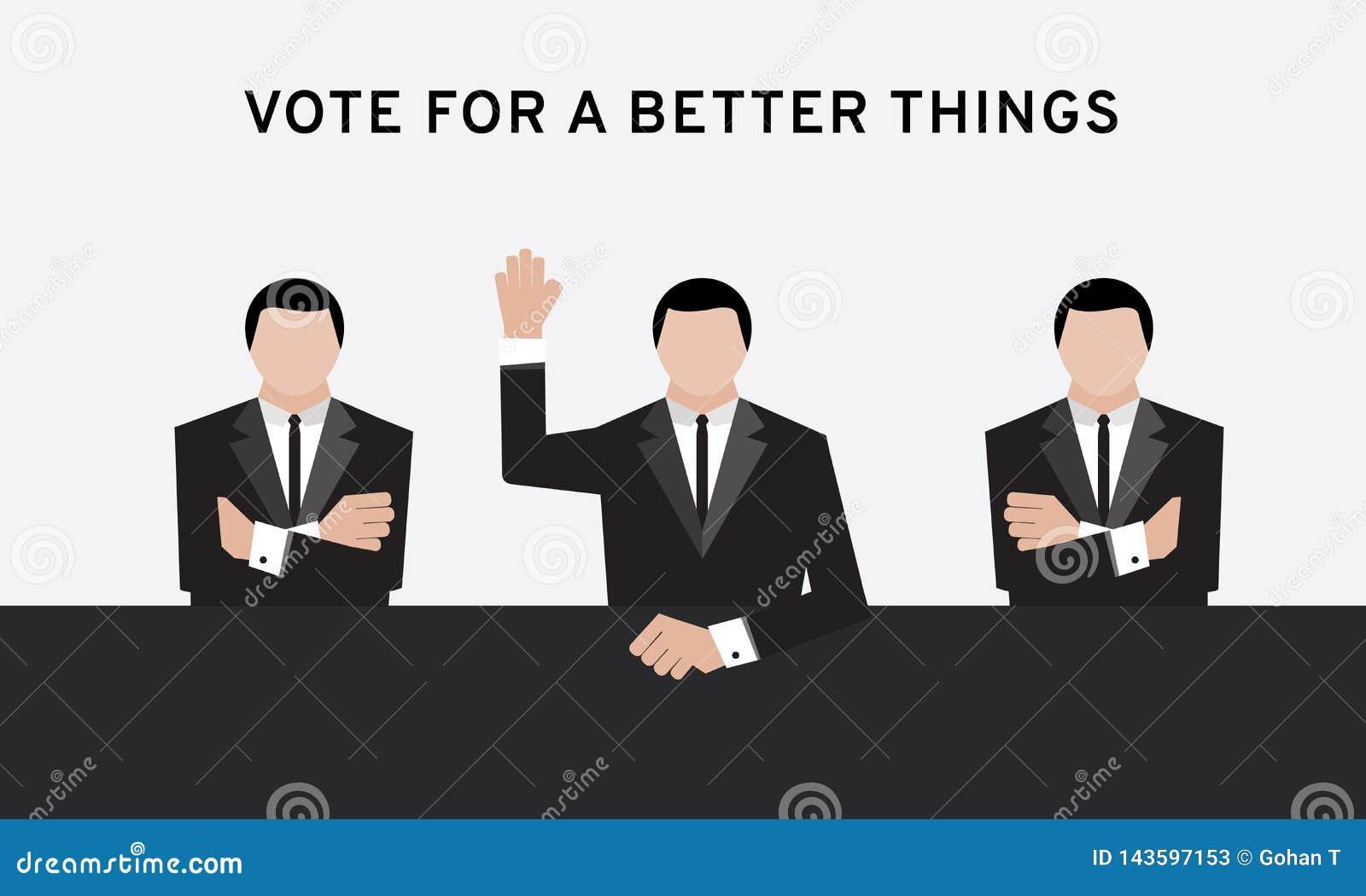 Homem de negócio três na mão do terno acima do braço aéreo e transversal para o voto da eleição e da mão na sala de conferências