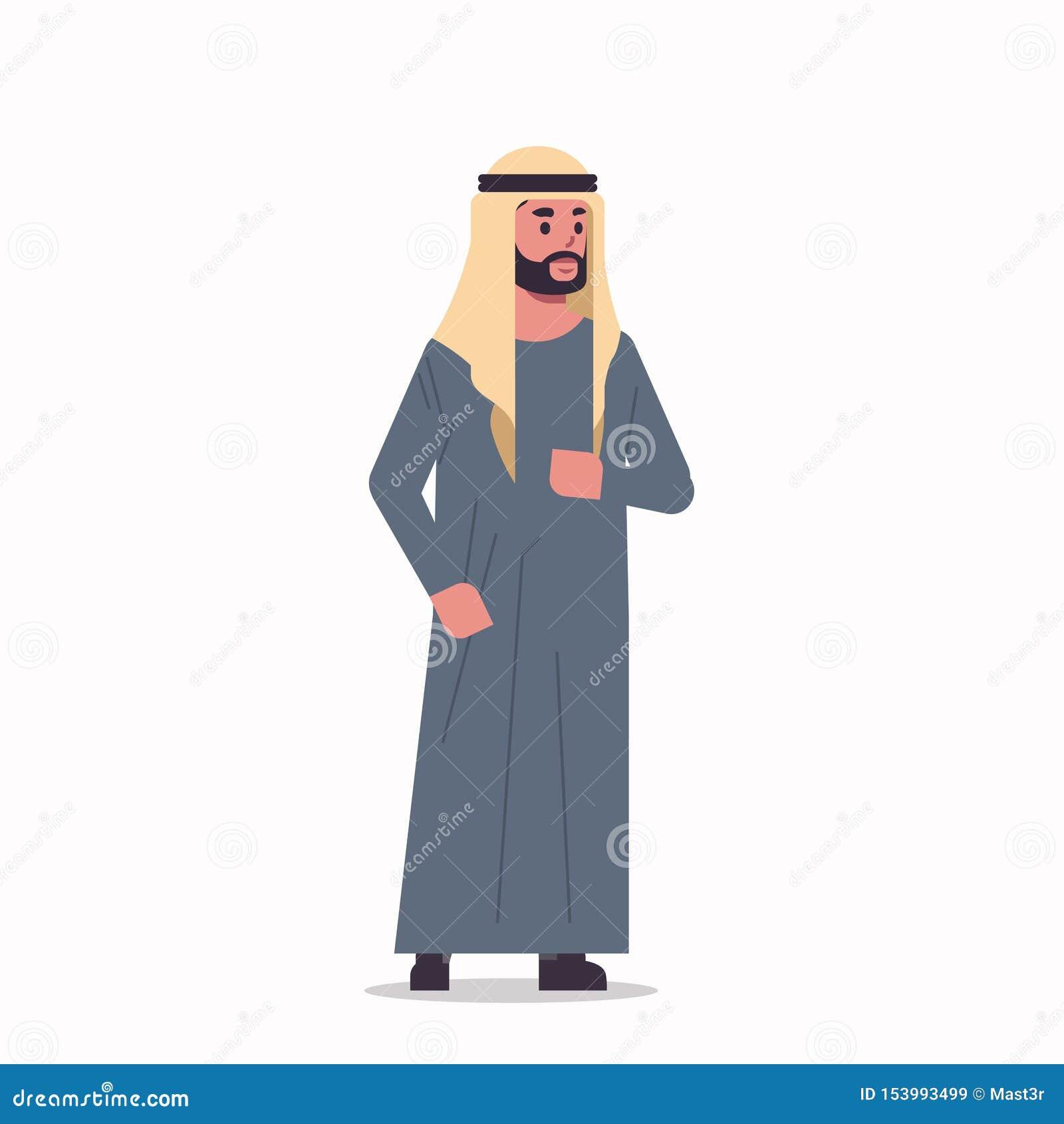 Homem de negócios árabe no homem do hijab vestindo roupas tradicionais de pé pose personagem de desenho animado masculino árabe c
